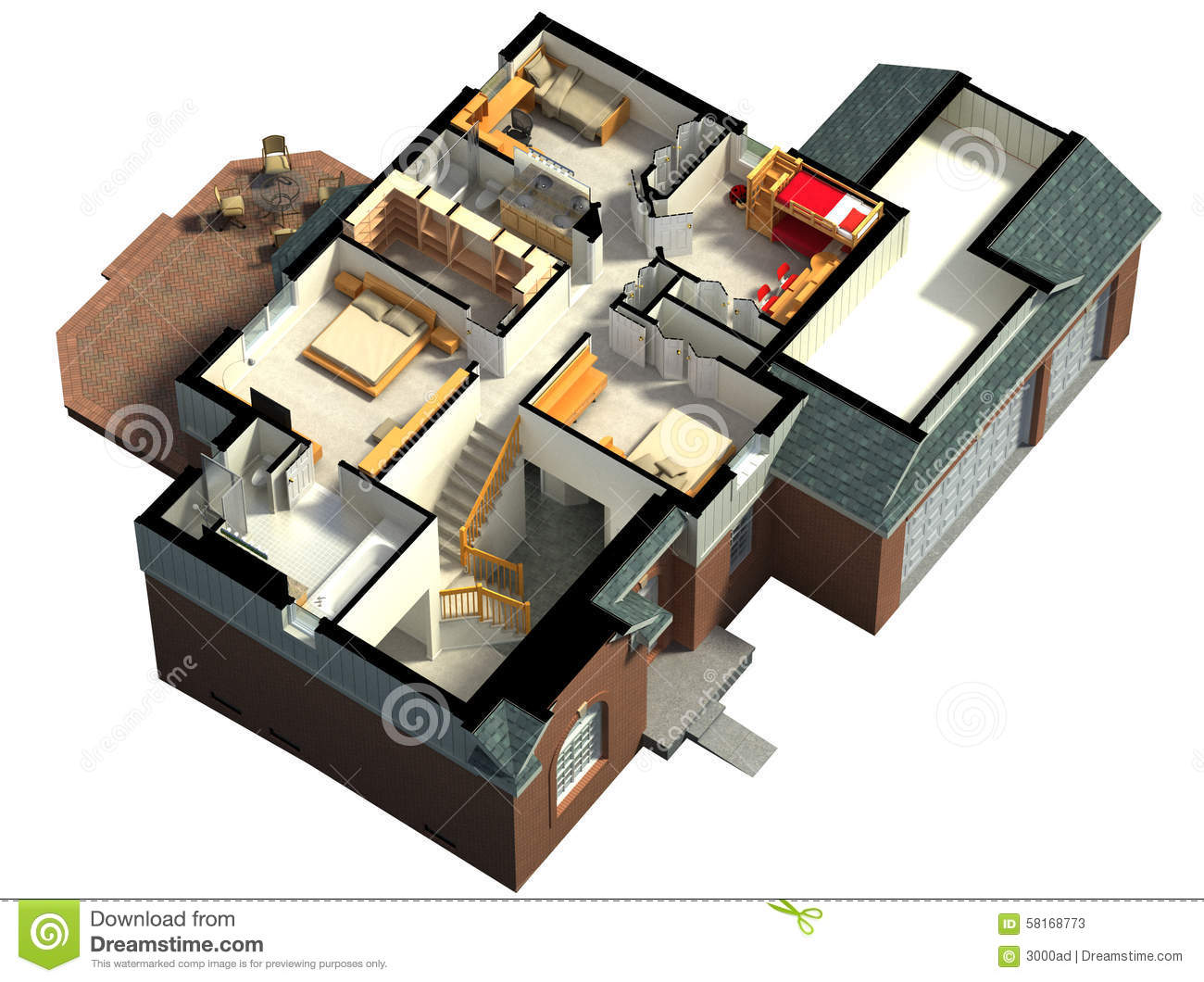 Isometric View Of A Furnished House Stock Illustration