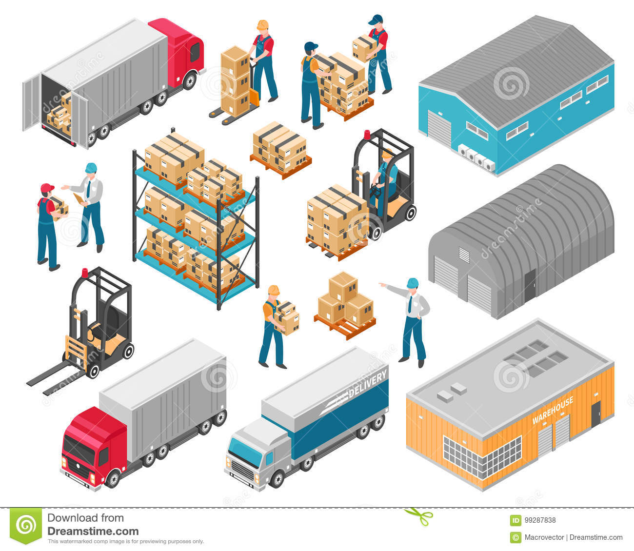 Isometric Warehouse Logistic Icon Set Stock Vector