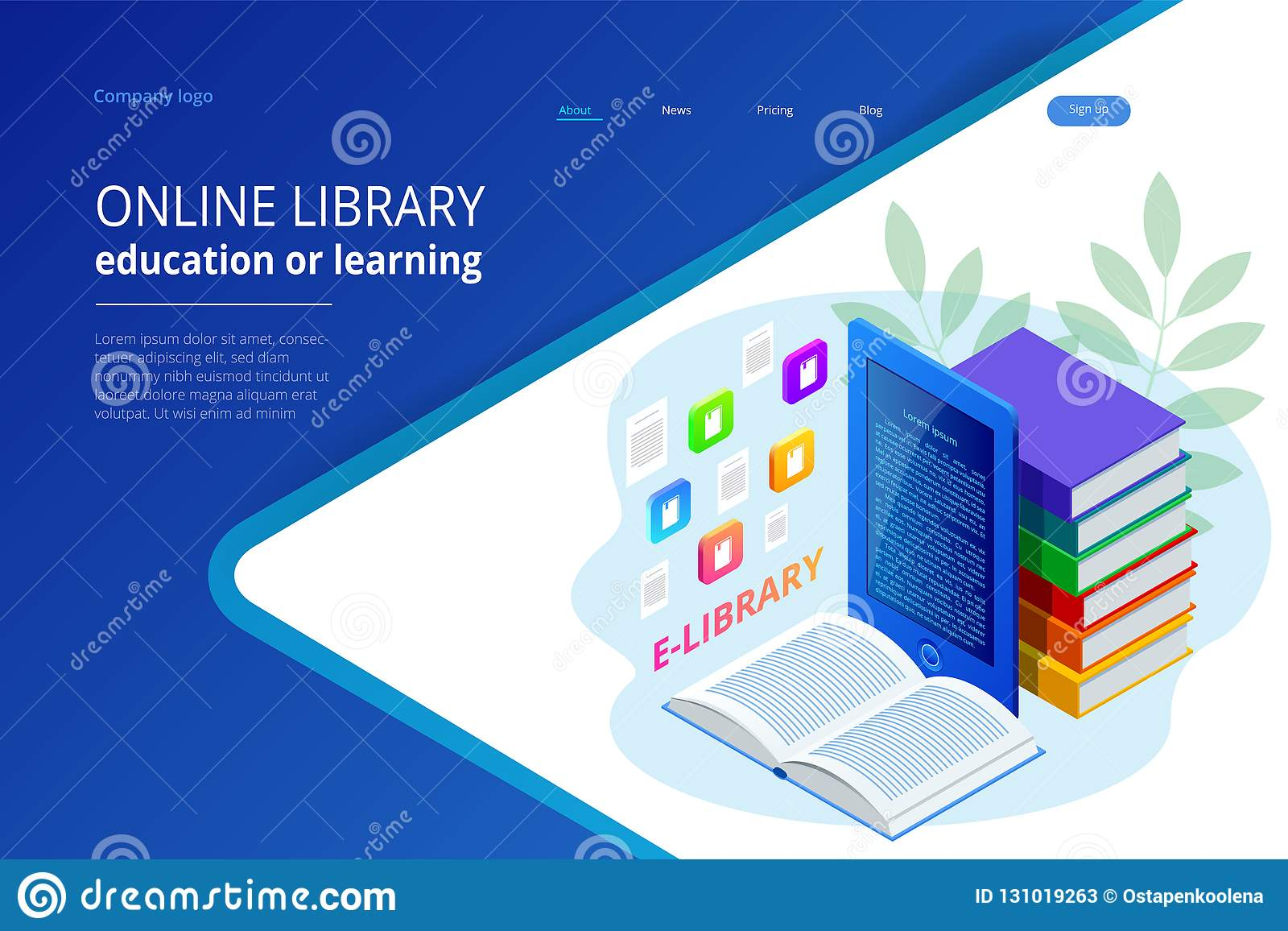 Isometric Web Banner E Learning Online Library Online Concept Landing Page Template Modern Design For A Web Page Stock Vector Illustration Of Education Book 131019263