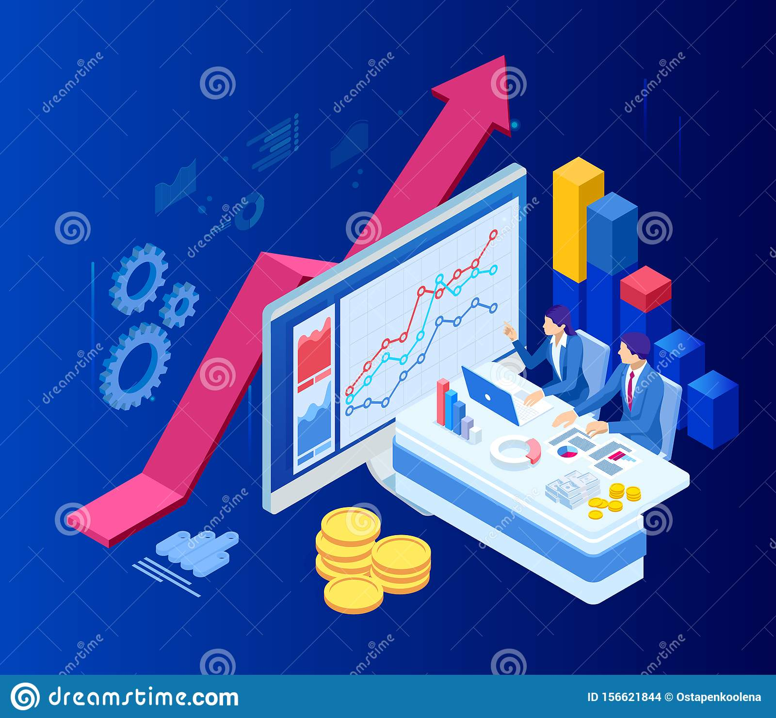 Isometric Web Business Concept Of Financial Administration, Accounting, Analysis