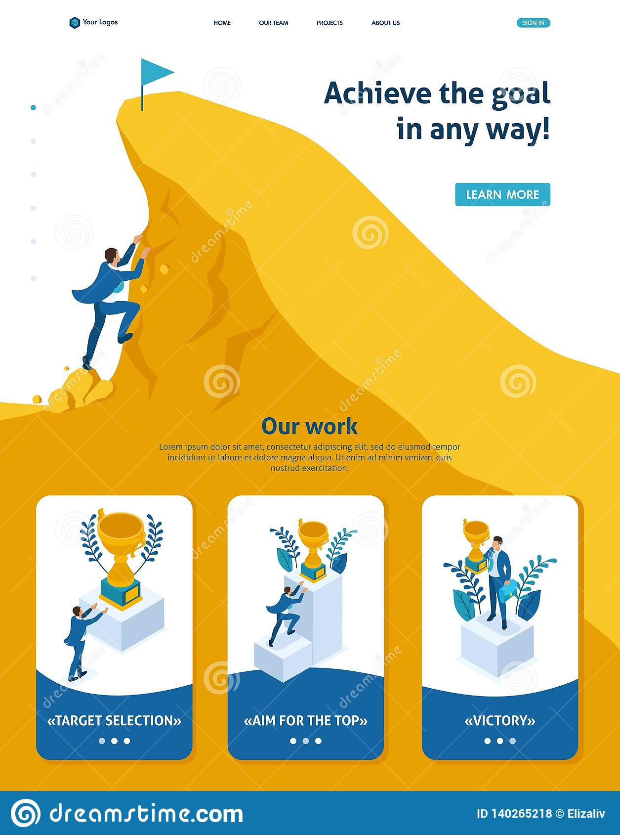 Isometric Build a Career, Succeed at the Top