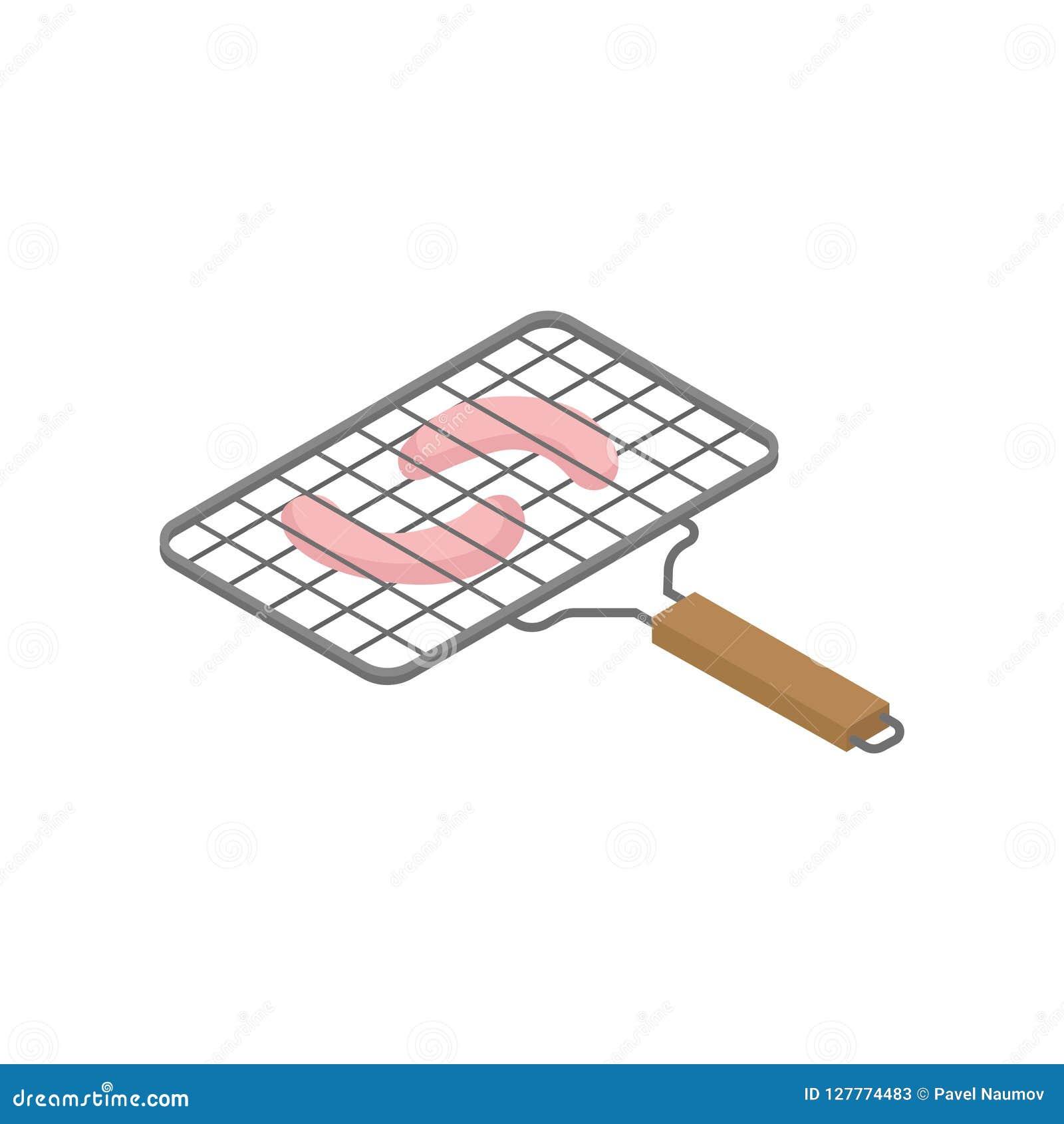 Isometric wektorowa ikona opieczenie kratownica z smakowitymi kiełbasami Grilla temat Element dla reklamowego plakata lub sztanda