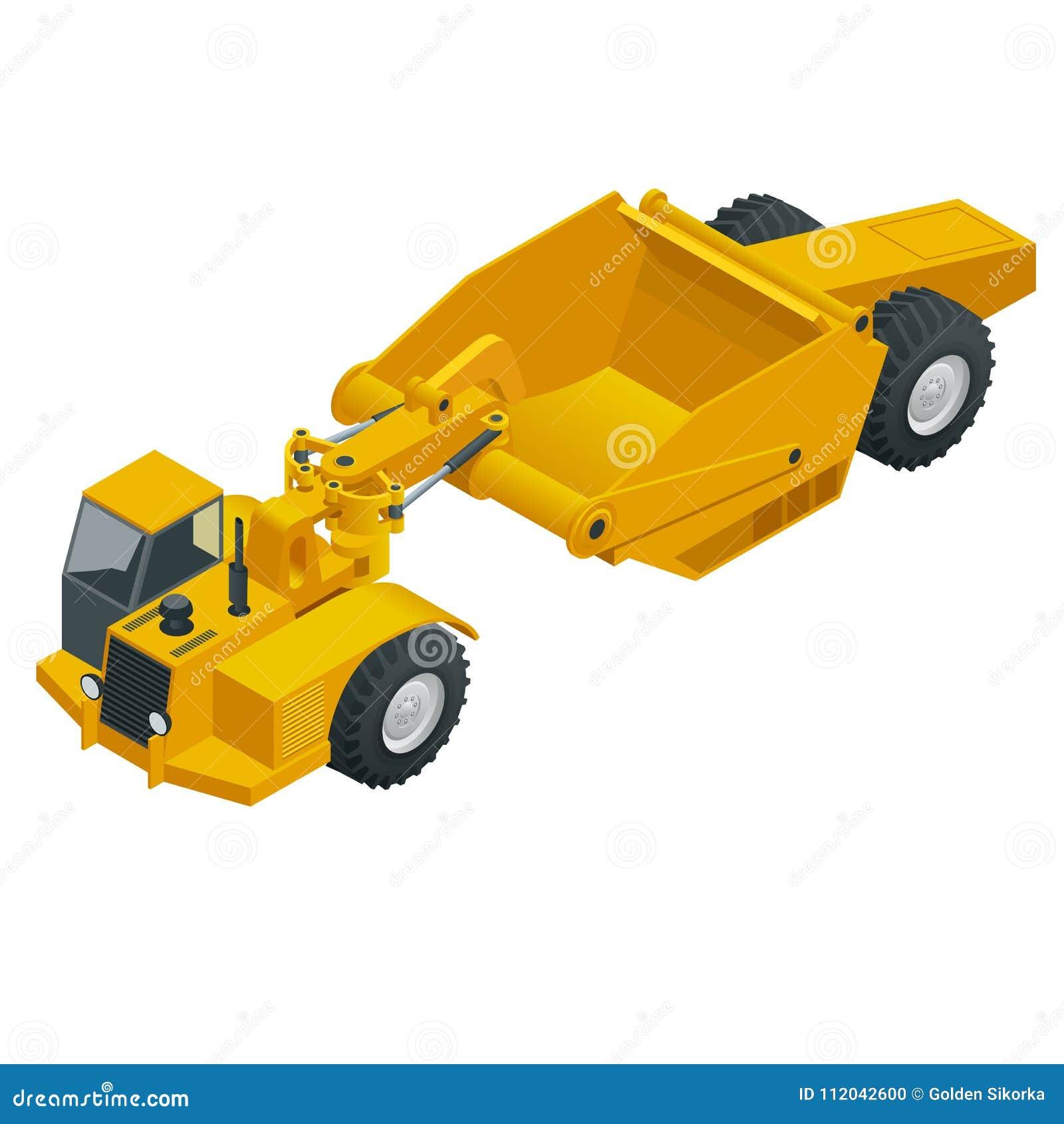 Isometric Wheel tractor-scraper. Wheel tractor-scraper, heavy equipment used for earthmoving. scraper a conveyor belt