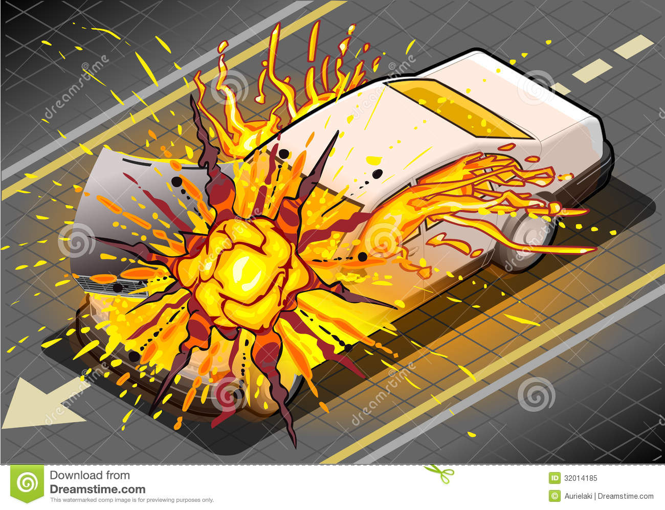 Isometric White Car In Explosion In Front View Royalty