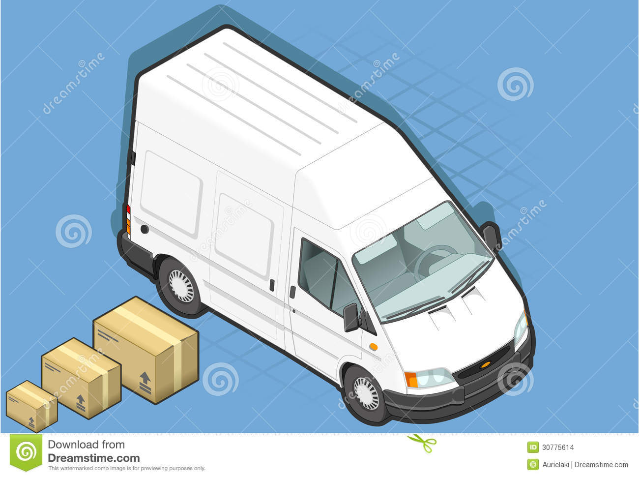 Isometric White Van In Front View Stock Images - Image ...