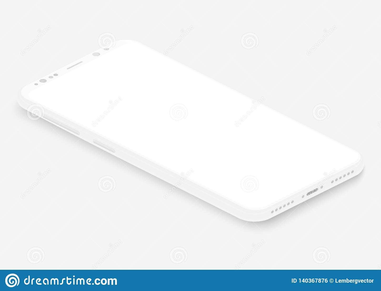 Isometric white vector smartphone. 3d realistic empty screen phone template for inserting any UI interface, test or