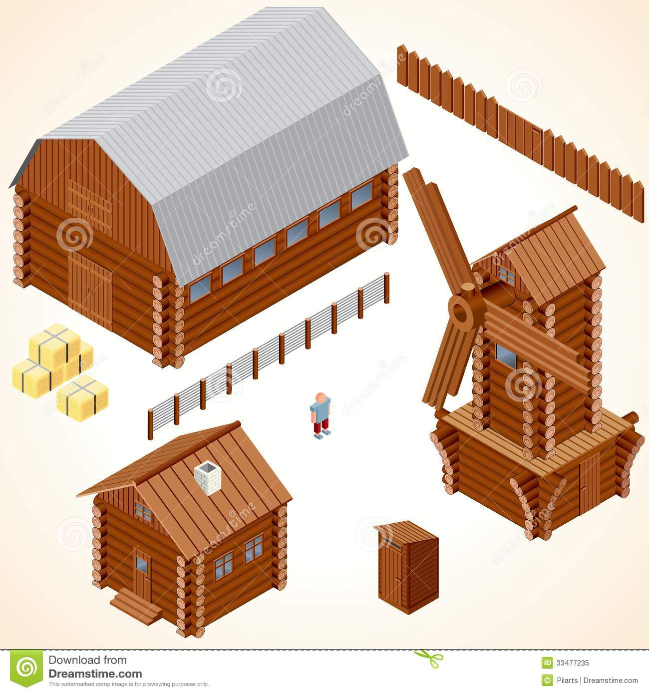 Isometric Wooden Cabins And House. Vector Clip Art Royalty Free Stock ...