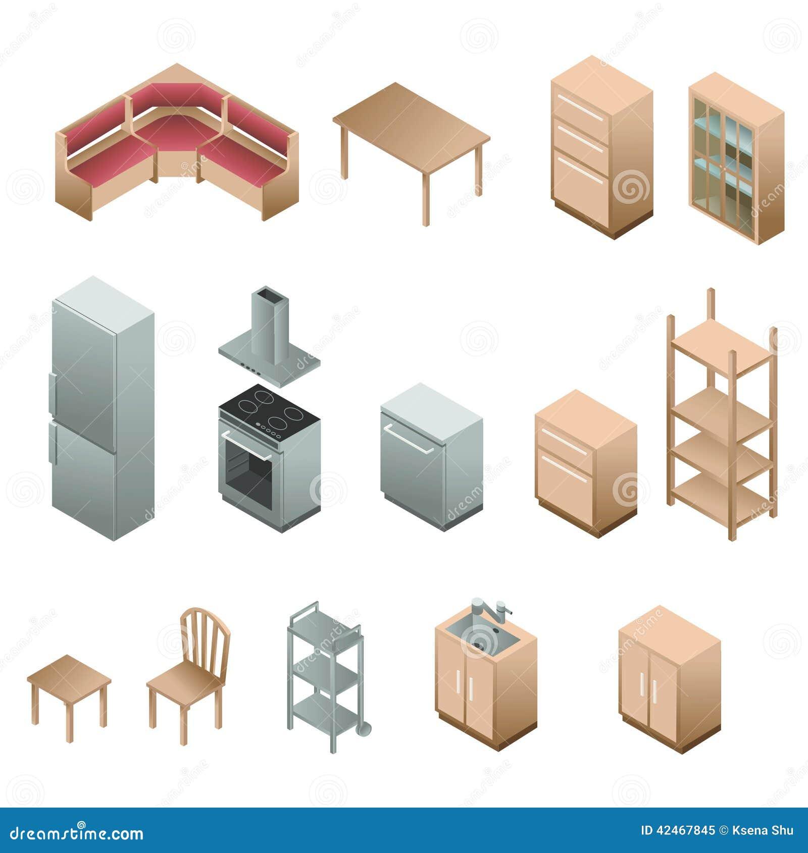 Isometric wooden furniture for kitchen stock vector for Programa para cocinas 3d gratis