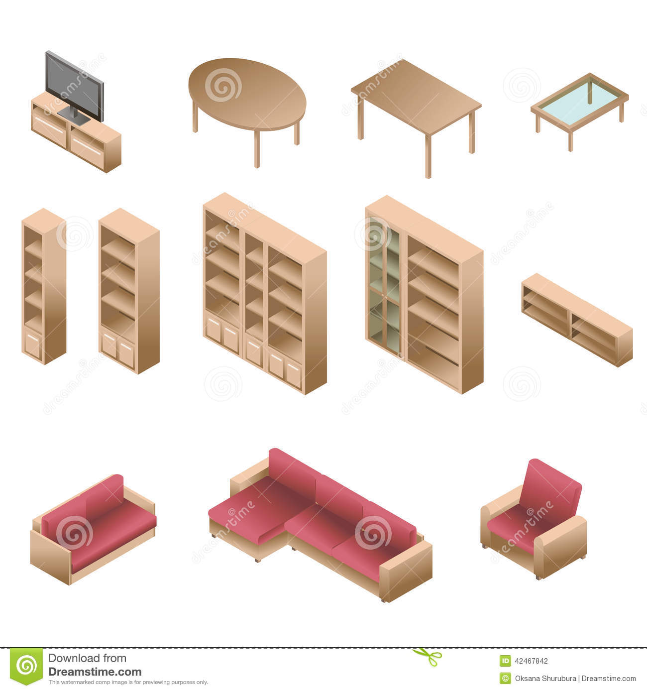 isometric wooden furniture for living room stock vector