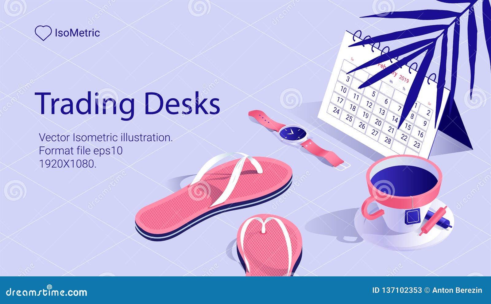 Isometric work desk banner. freelance desk
