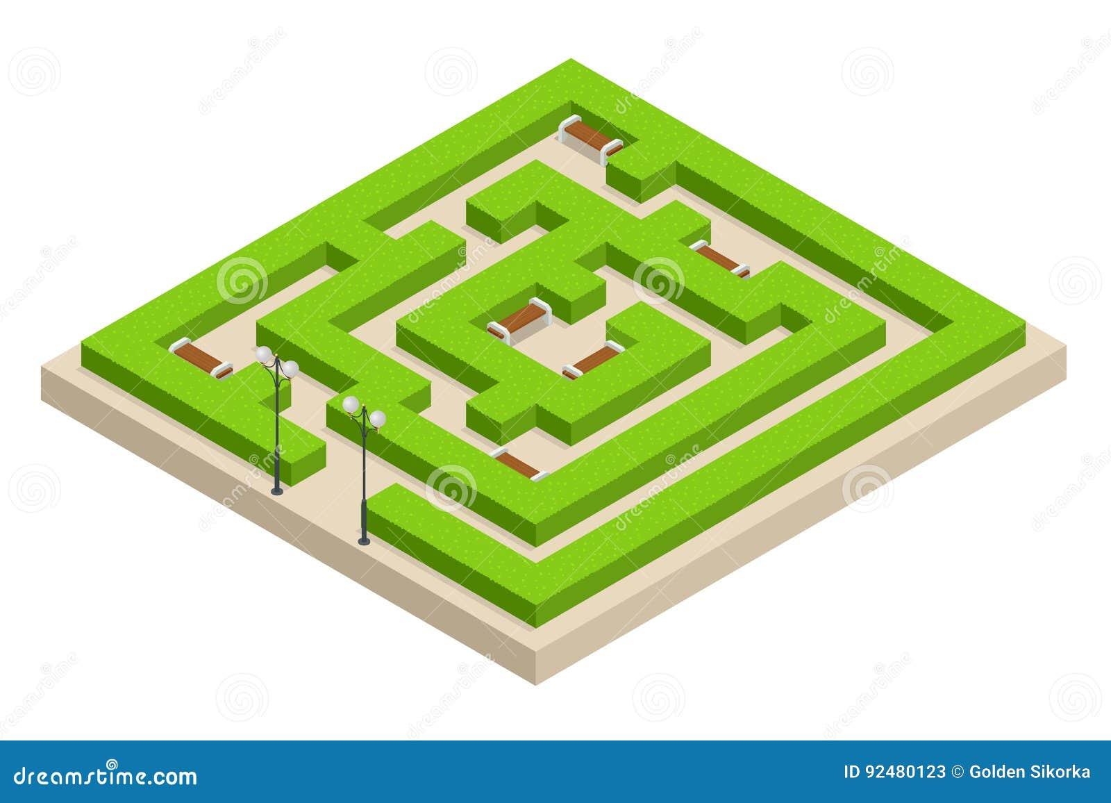 Isometric Zielonej rośliny labirynt Miasta, parkowych i plenerowych rośliny, Prostokątny park jest labityntem robić krzaki z ławk