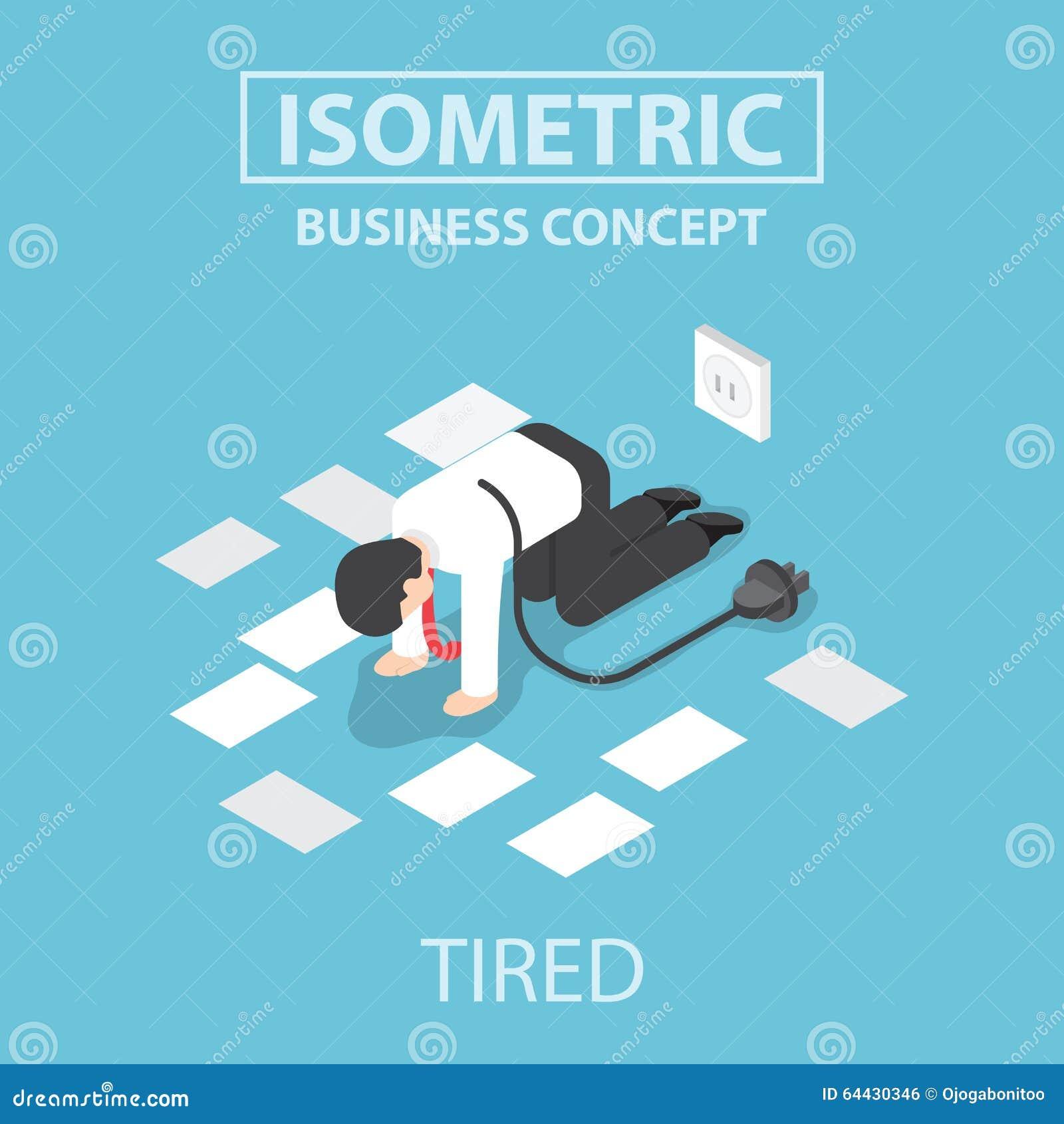 Isometric zmęczony biznesmen unplug i zatrzymuje pracować