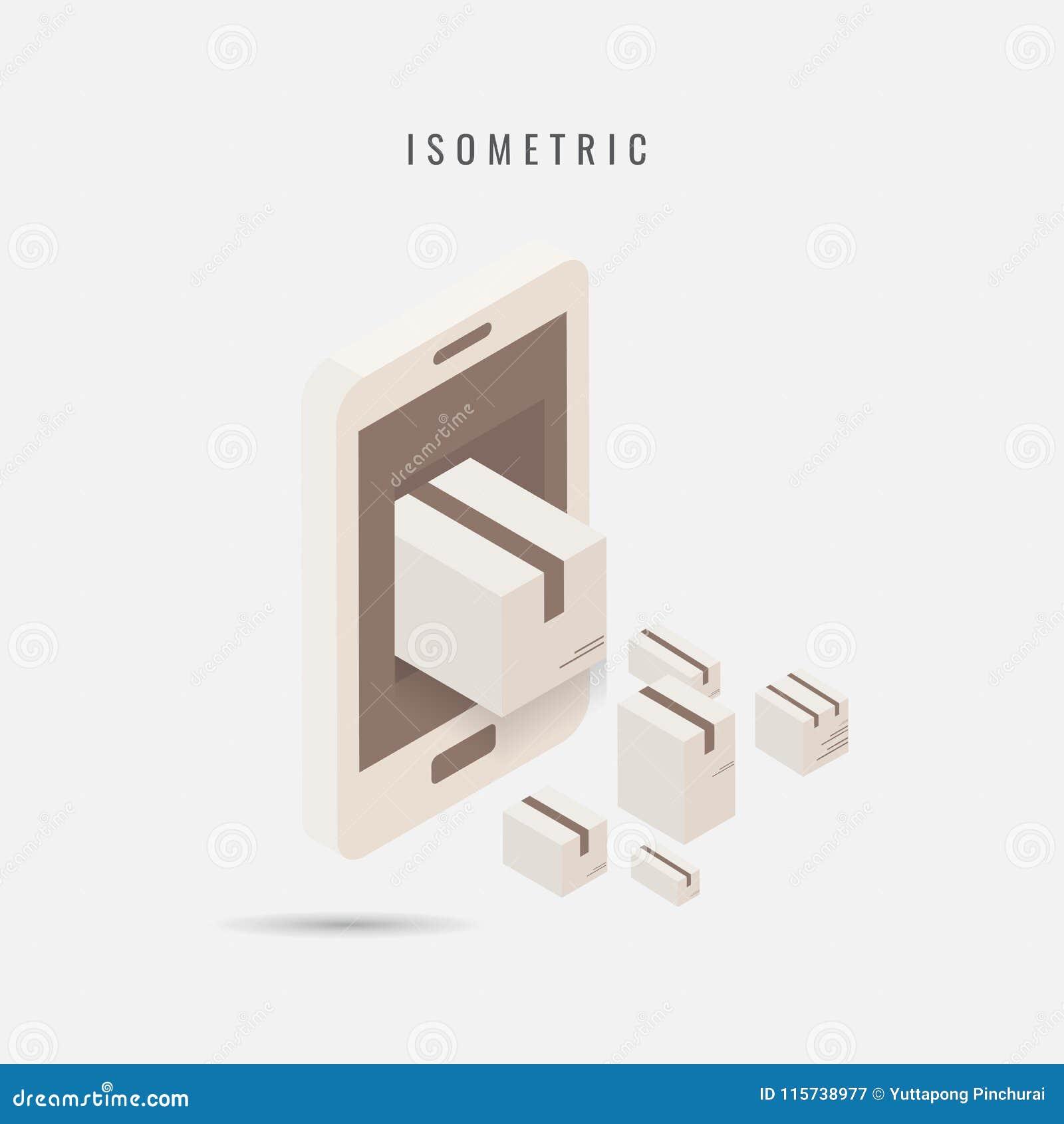Isometrico consegna mobile dell icona, simbolo di vettore nello stile isolato