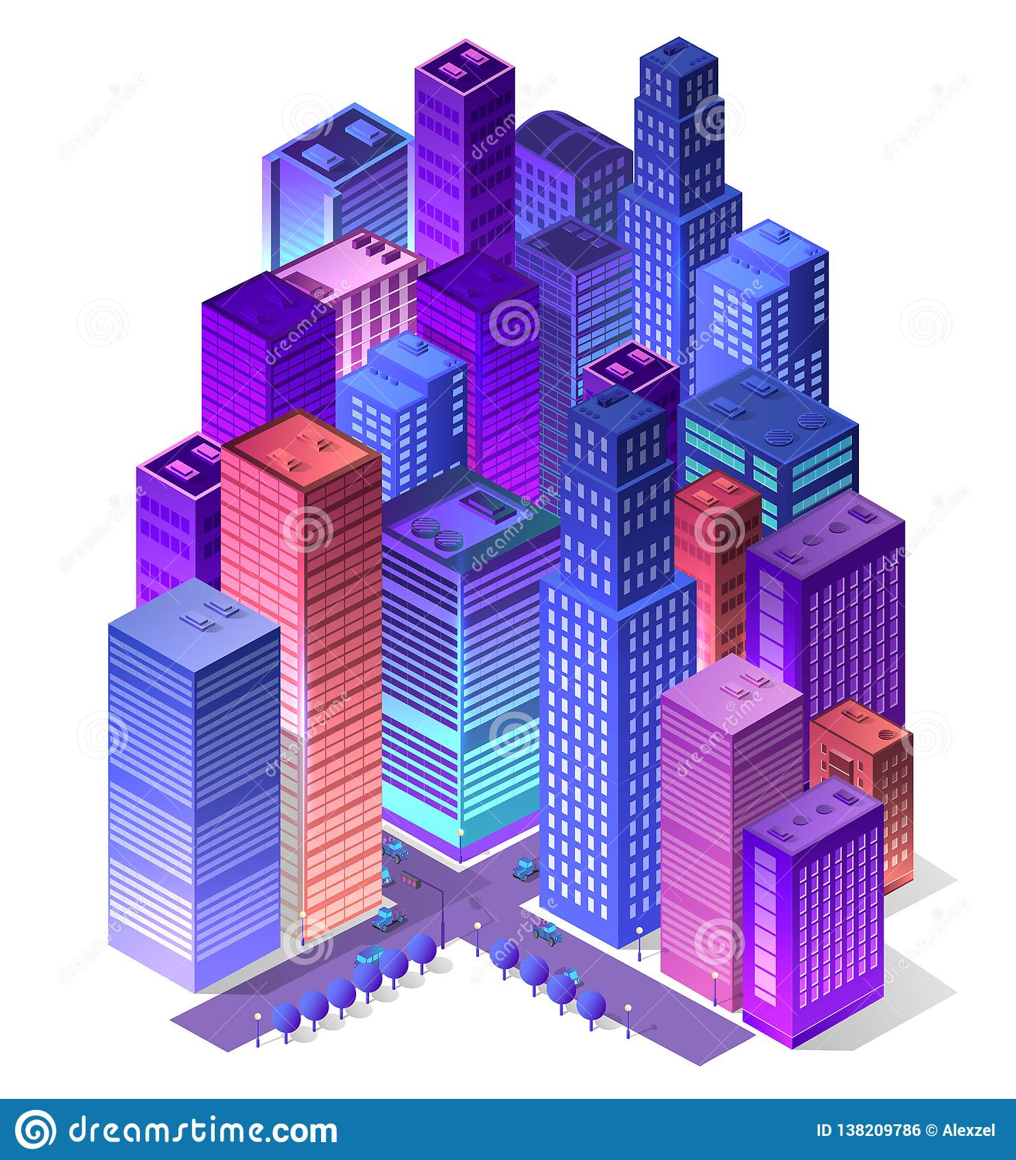 Isometrico futuristico futuro 3d