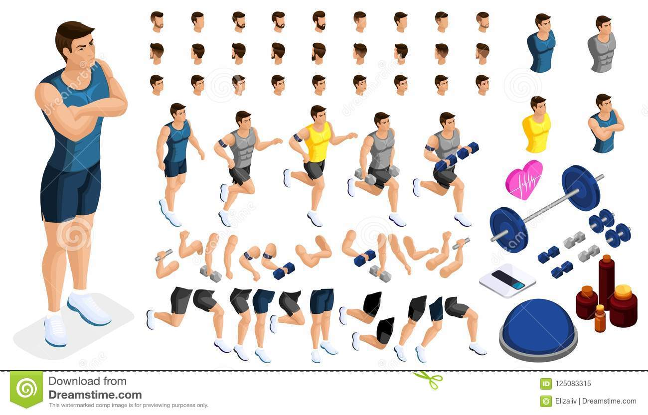 Isometrics Create Your Sporty Inflated Man, A Set Of Hairstyles ...