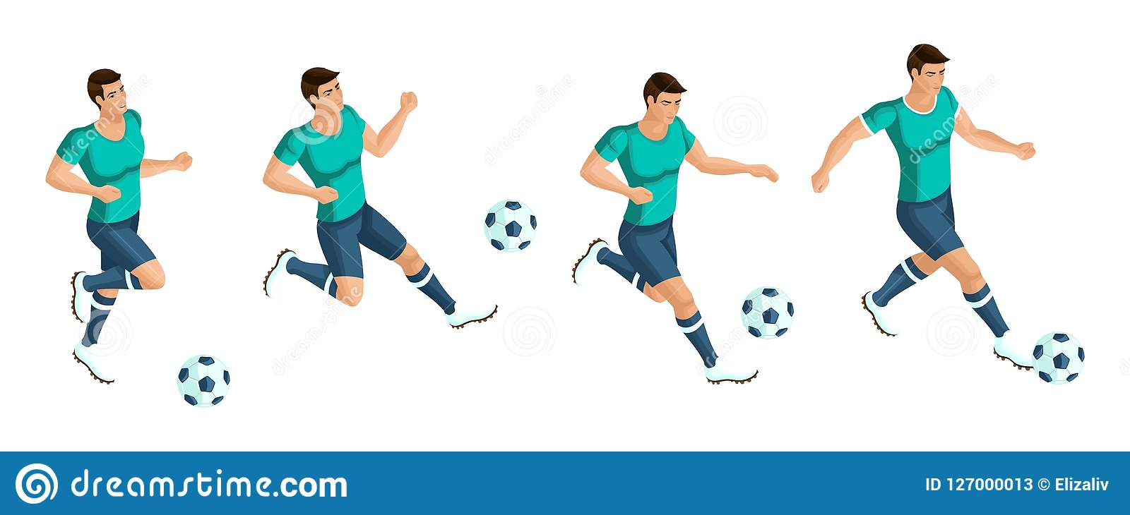 Isometrics Soccer Player  Playing Football, The Player Beats