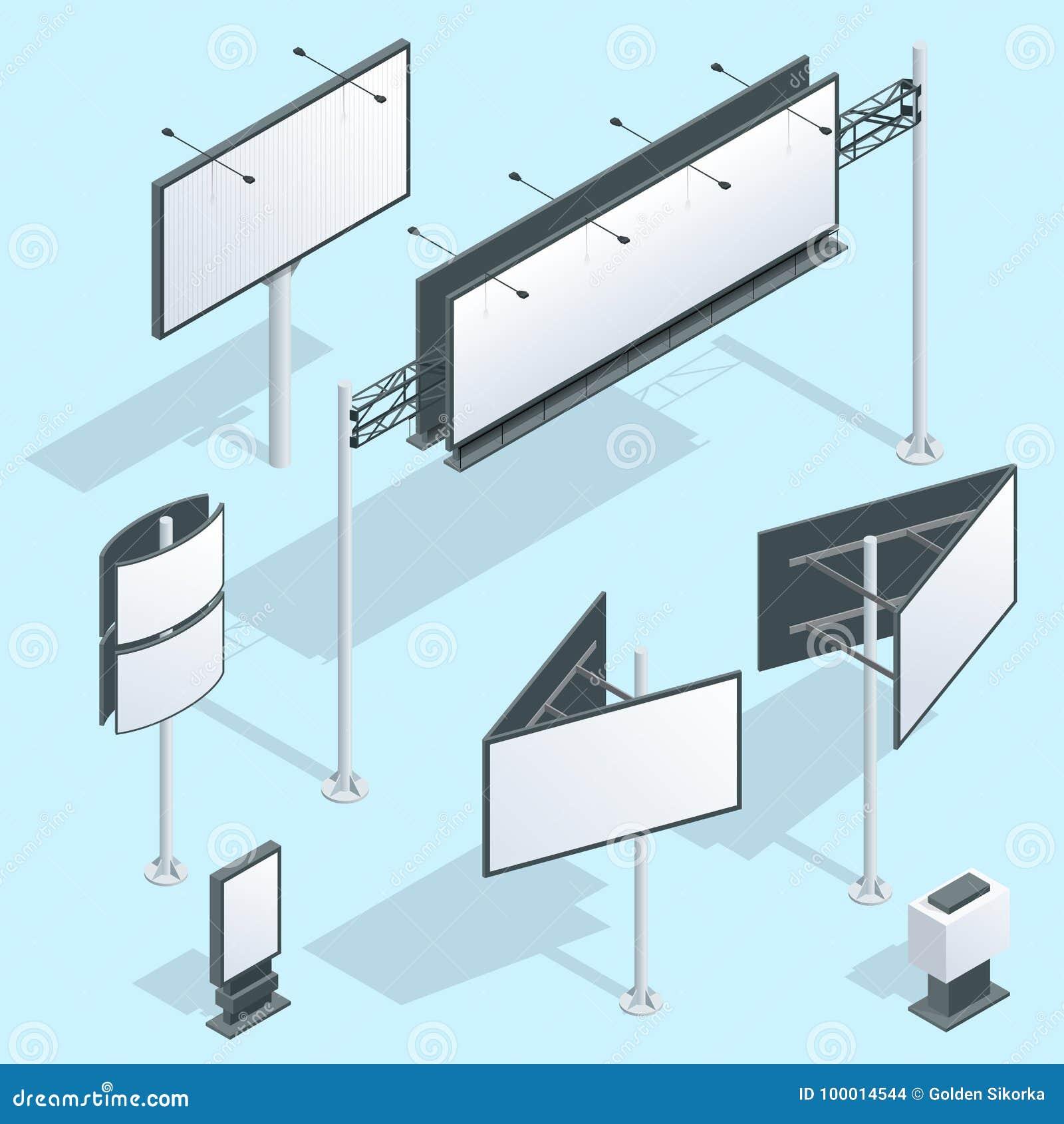 Isometrisch aanplakbord Reeks verschillende perspectieven die bouw voor openlucht reclame groot aanplakbord adverteren