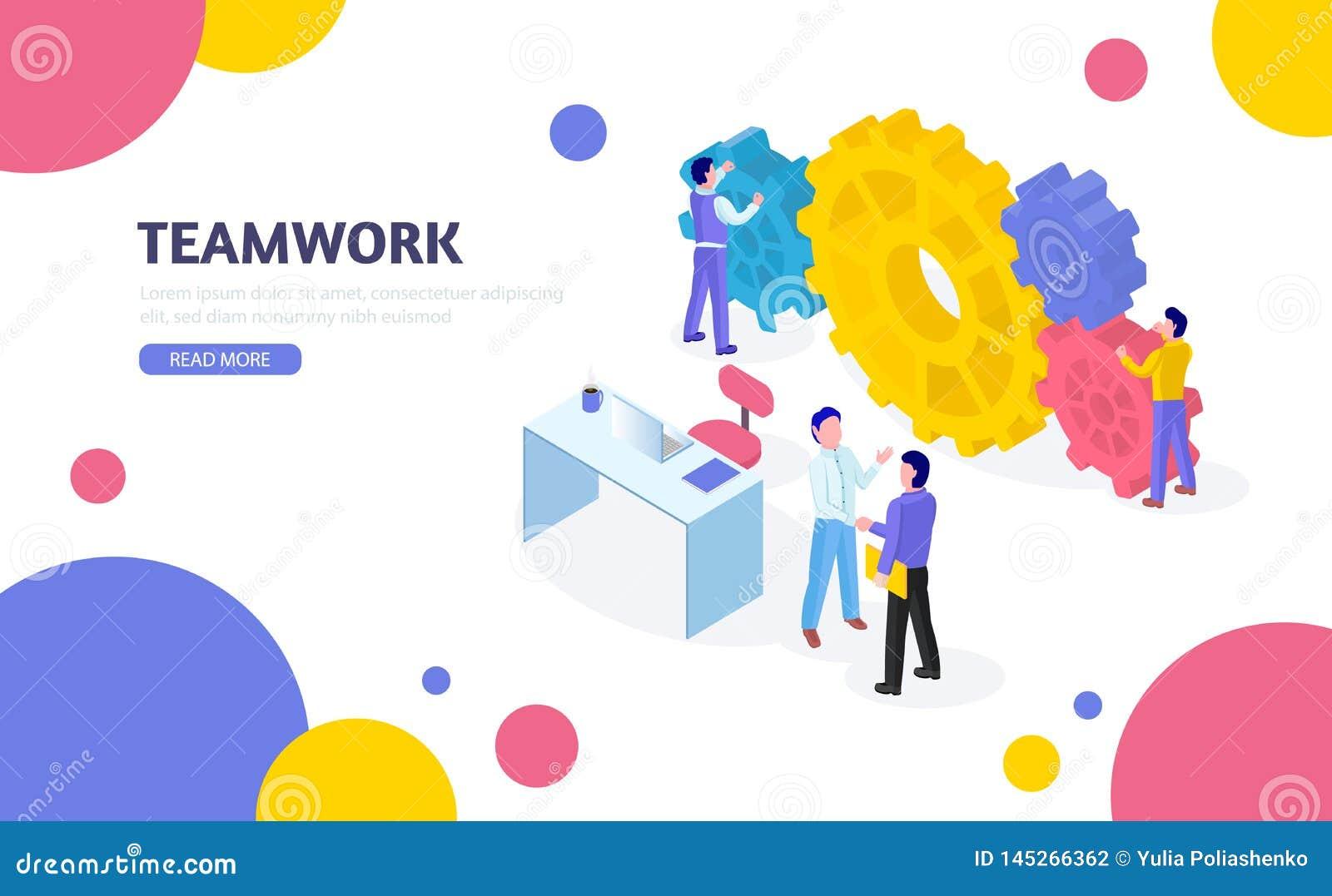 Isometrisch bedrijfsconcept Groepswerkproces