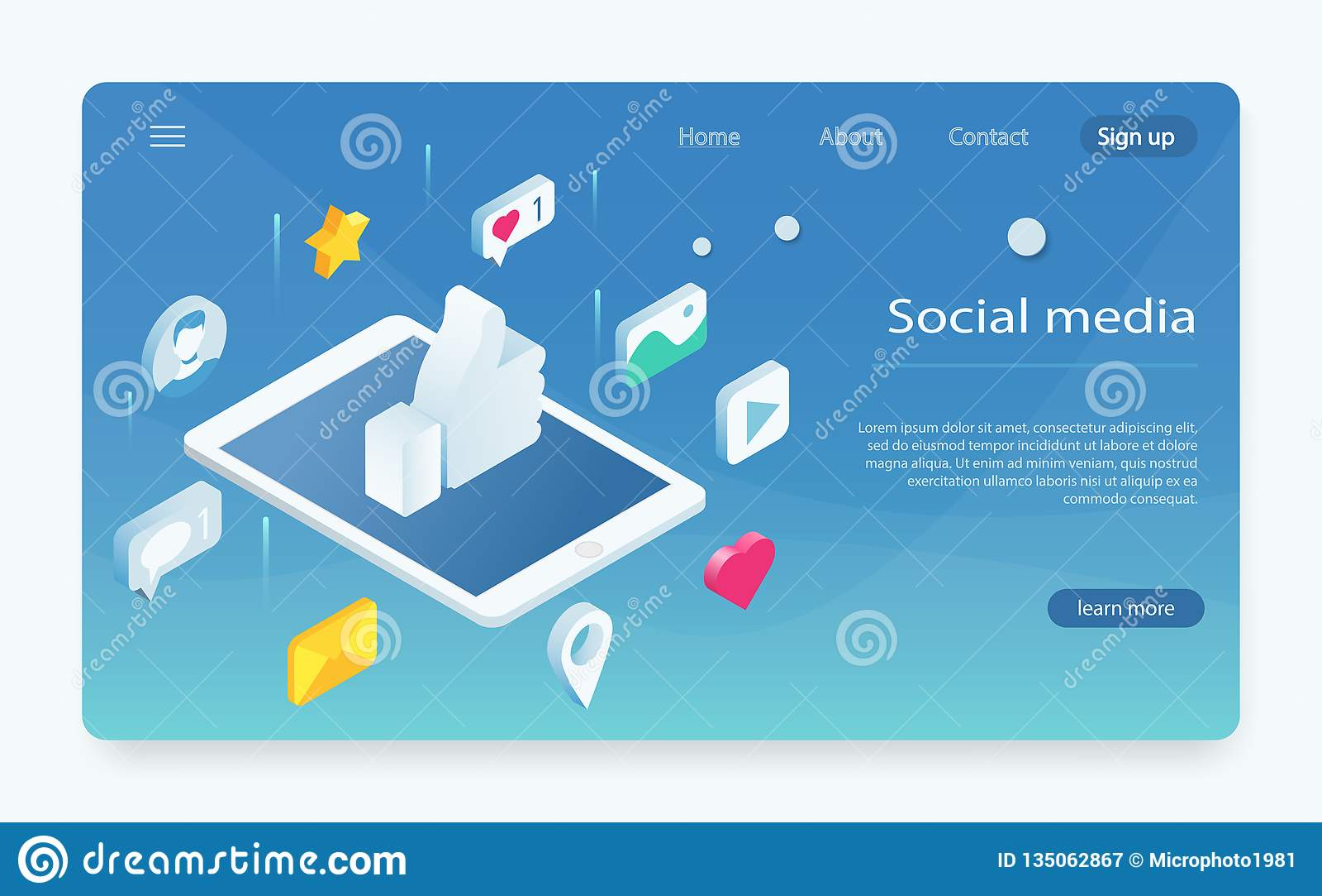Isometrisch concept met mobiele telefoon en praatje Sociaal netwerk zoals pictogram