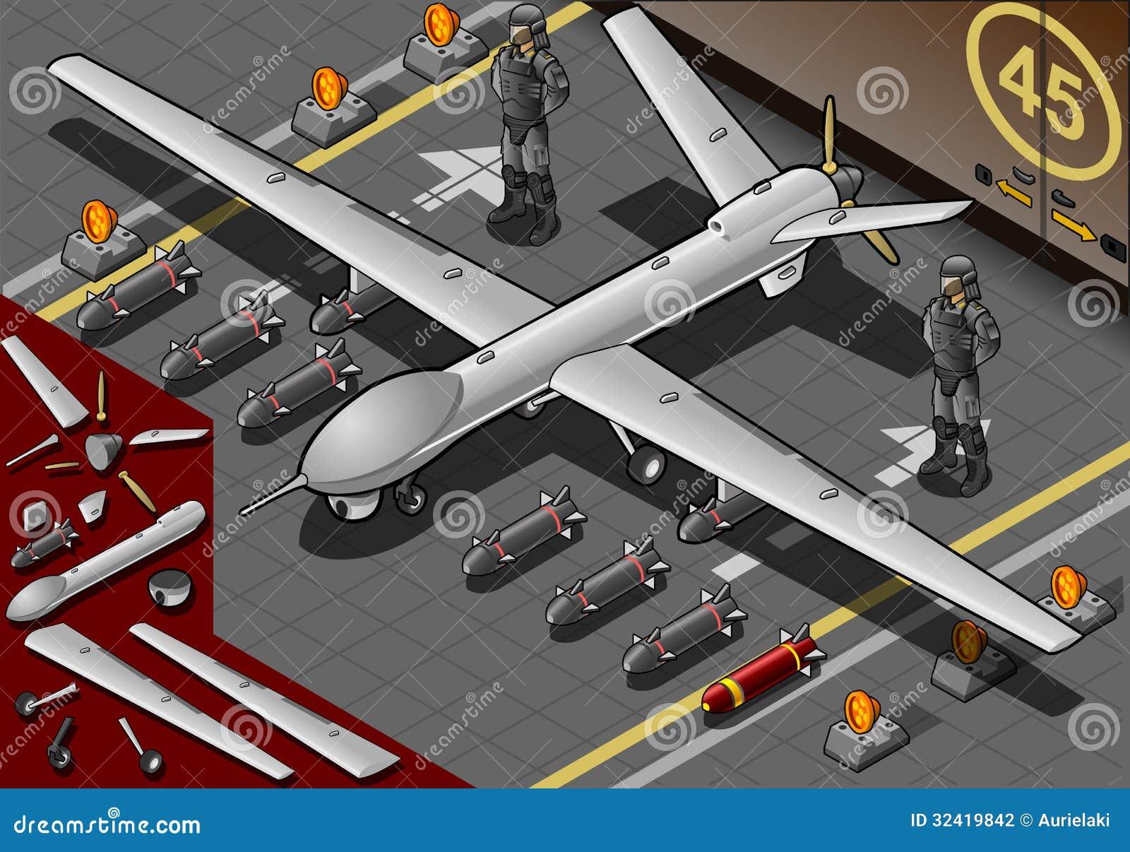 Isometrisch die Hommelvliegtuig in Front View is geland