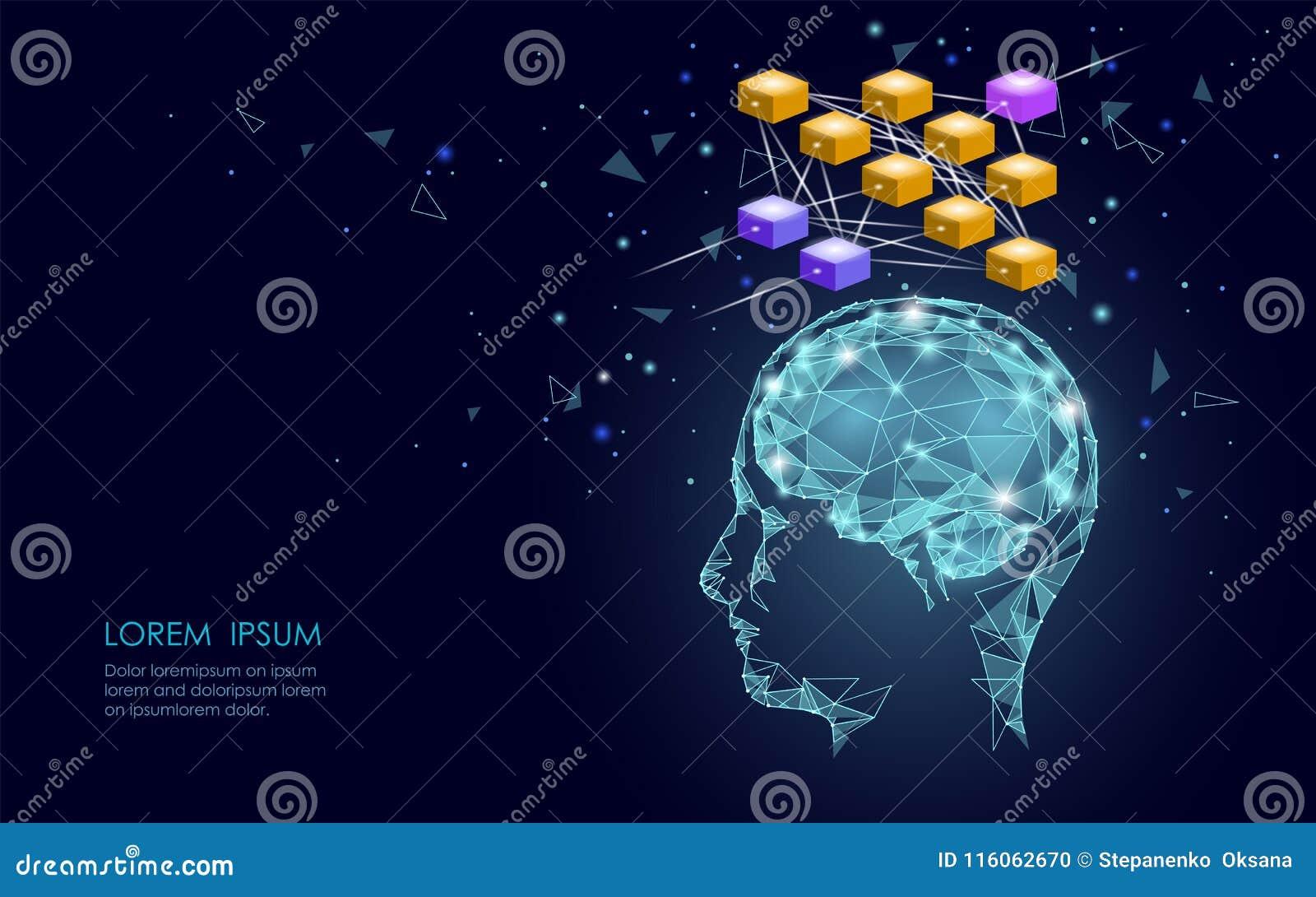 Isometrisch het netwerk van bedrijfs kunstmatige intelligentie menselijk hersenen neuraal concept Blauwe gloeiende persoonlijke i