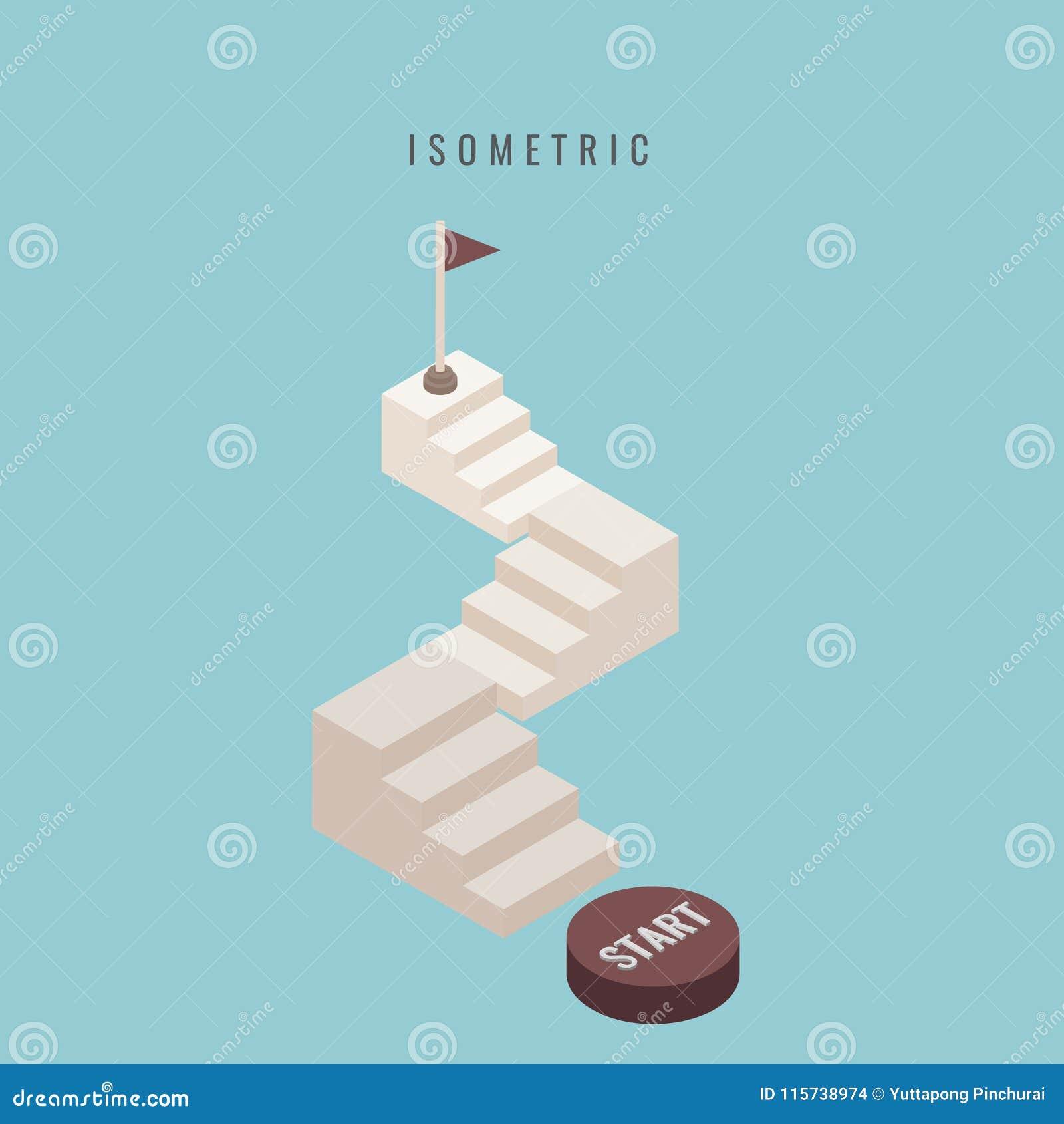 Isometrisch ikone Stellen Sie Treppenhaus 3d konkret ein Löschen Sie herauf Leiterisolator