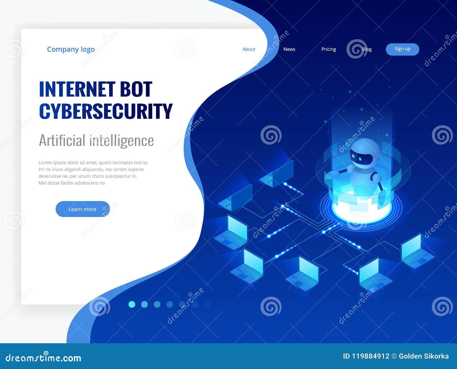 Isometrisch Internet bot en cybersecurity, kunstmatige intelligentieconcept Virtuele hulp van de ChatBot de vrije robot van