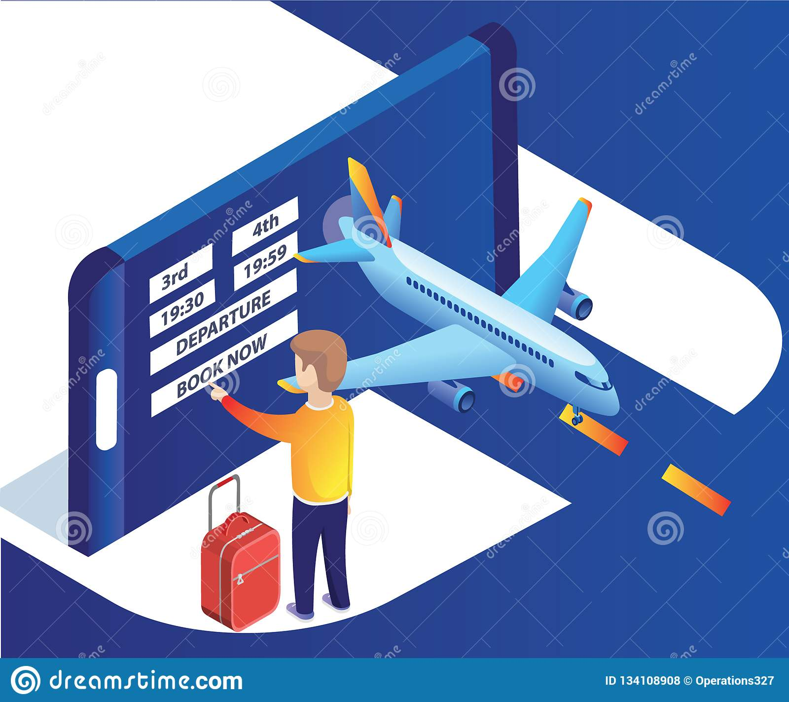 Isometrisch Kunstwerk van een mens het boeken vliegtuigkaartjes online met gemakkelijk en zonder enige ruzie
