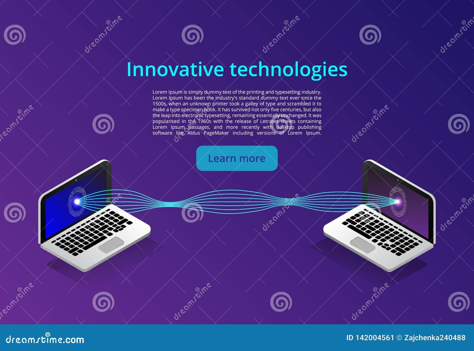 Isometrisch modern computertechnologie en voorzien van een netwerkconcept De technologiezaken van de Webwolk De datadiensten van