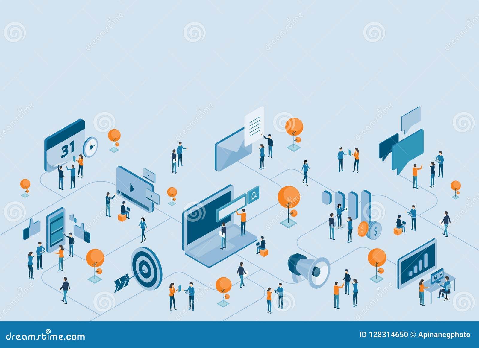 Isometrisch ontwerp voor bedrijfs digitale marketing online verbinding