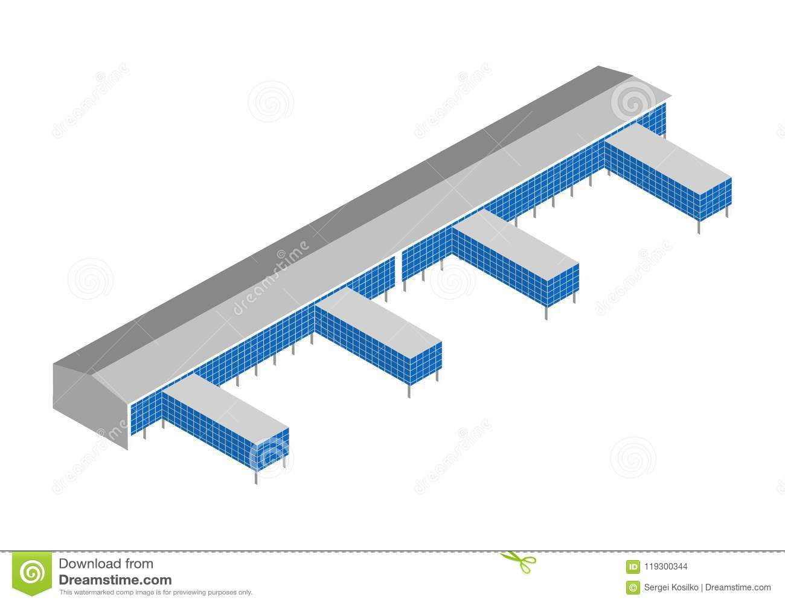 Isometrisch pictogram met de bouw van het havenpakhuis