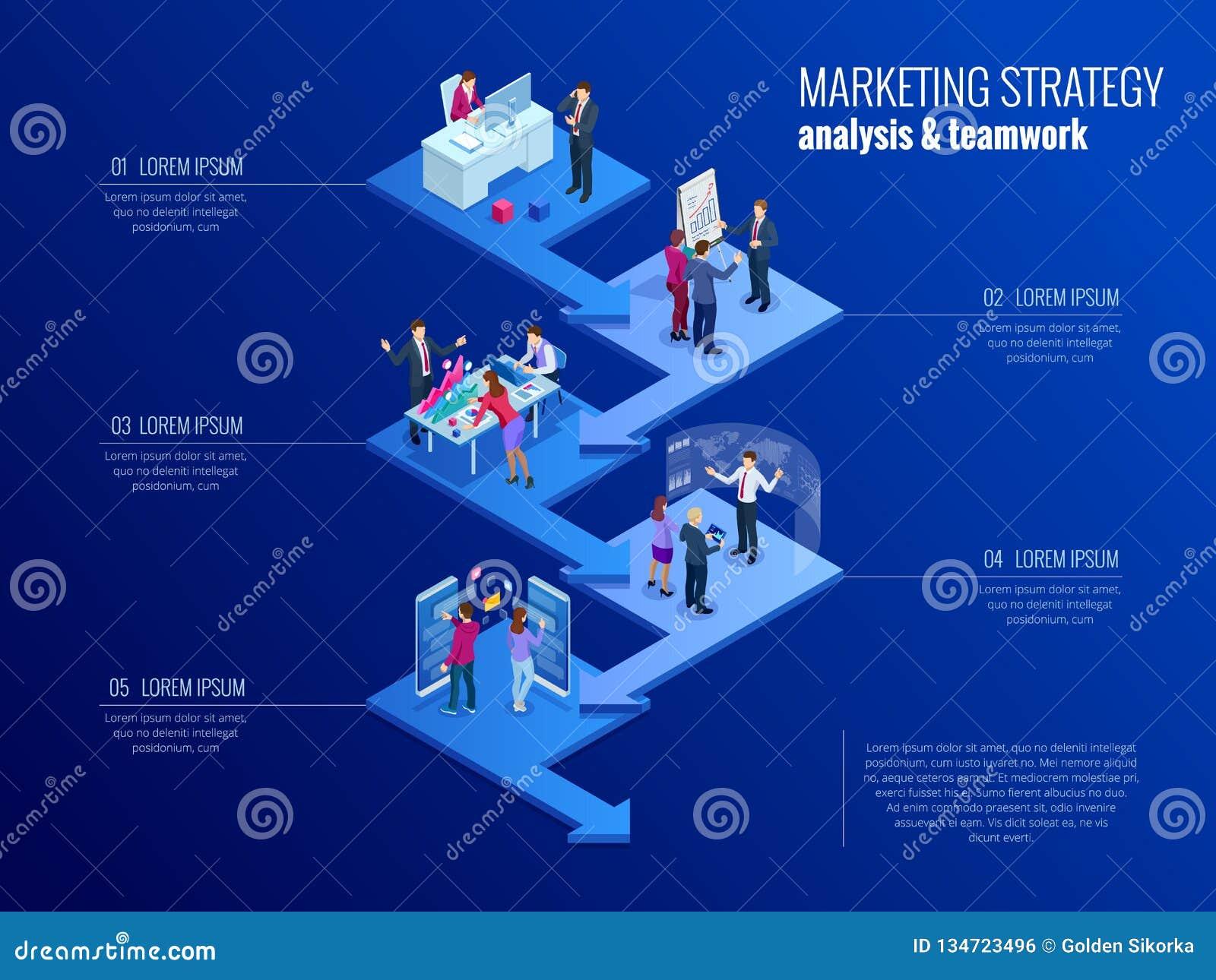 Isometrisch presentatie bedrijfsinfographicsmalplaatje met 5 opties Bedrijfsgegevensvisualisatie, digitale marketing