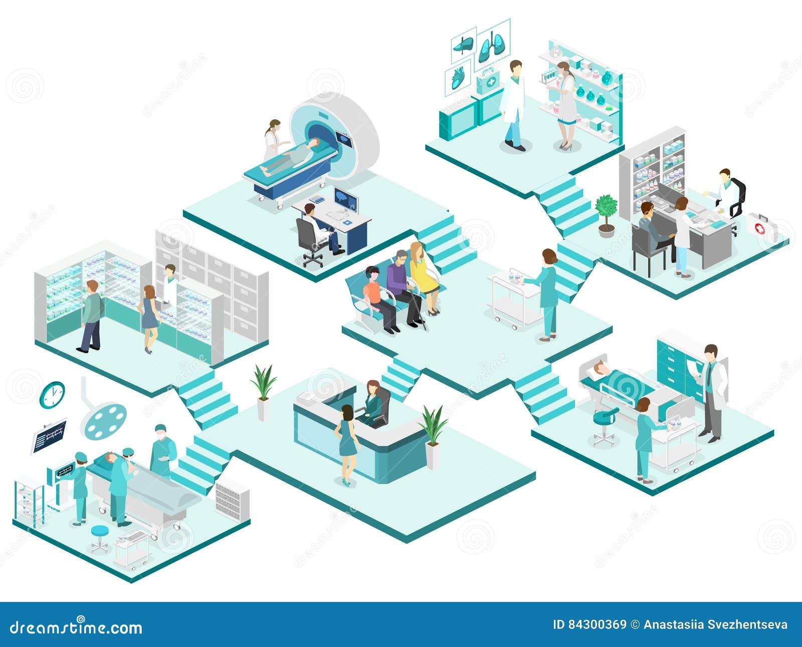Isometrisch vlak binnenland van het ziekenhuisruimte, apotheek, artsen` s bureau,