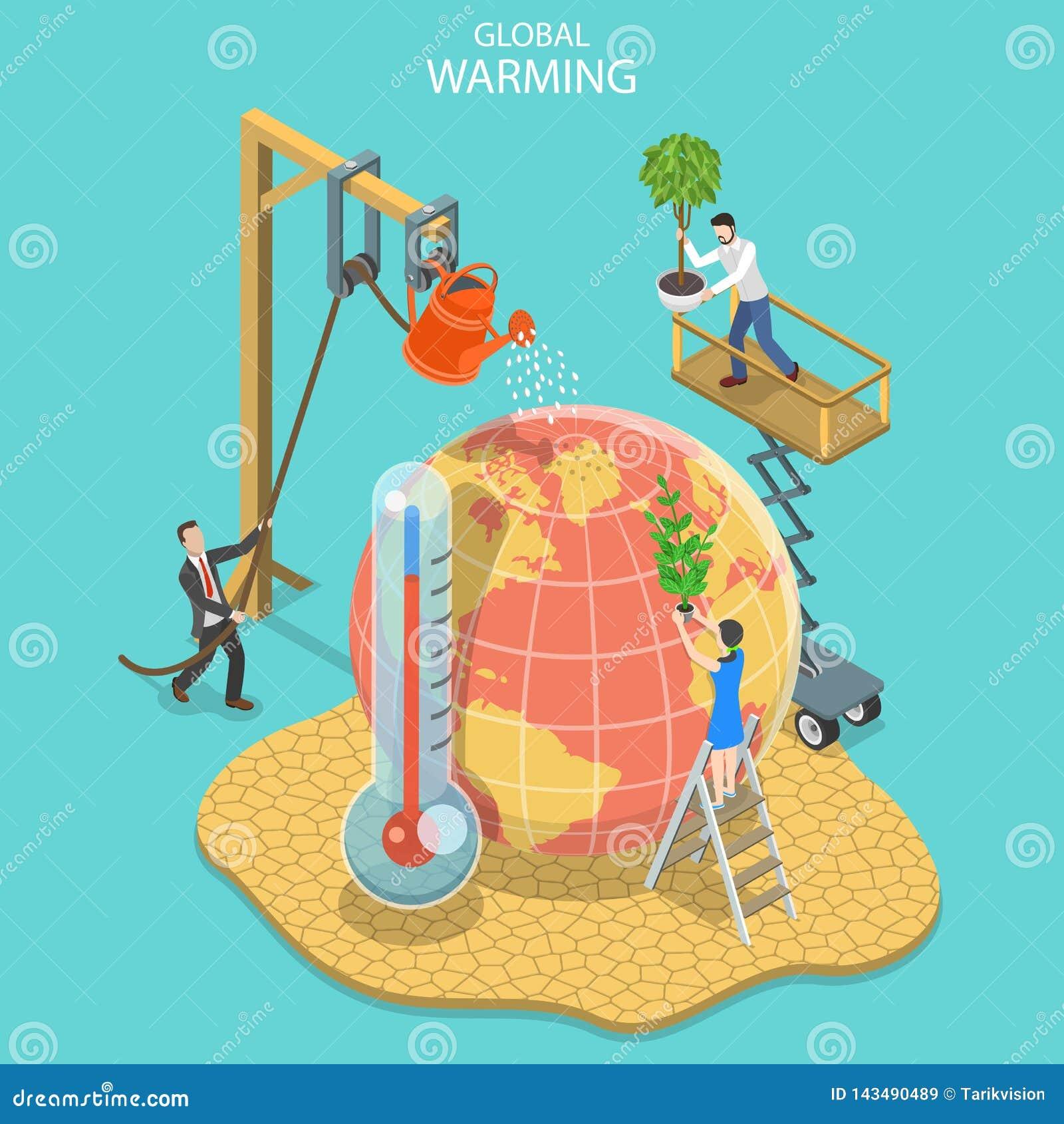 Isometrisch vlak vectorconcept het globale verwarmen, klimaatverandering