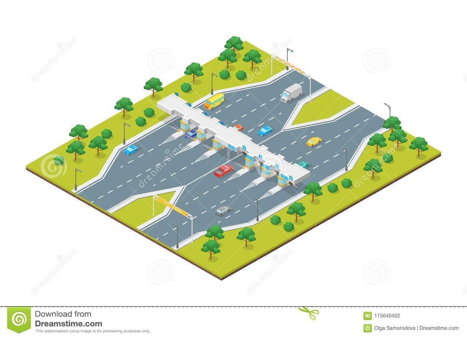 Isometrische Ansicht des Mautstraße-Zahlungs-Konzept-3d Vektor
