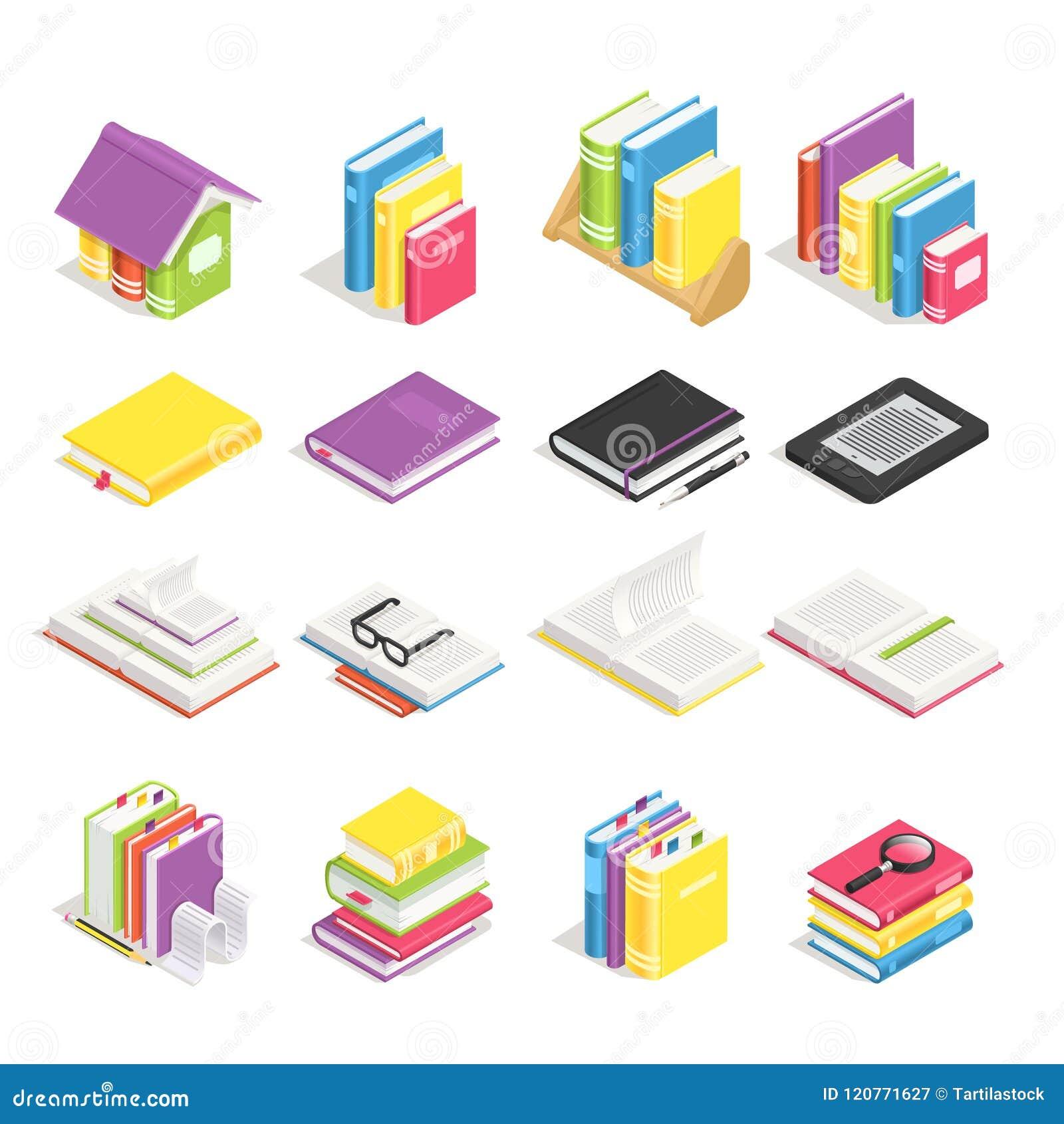 Isometrische boeken Schoolhandboek, boek met referentie en notitieboekje met pen Stapel handboeken op bibliotheekboekenrek