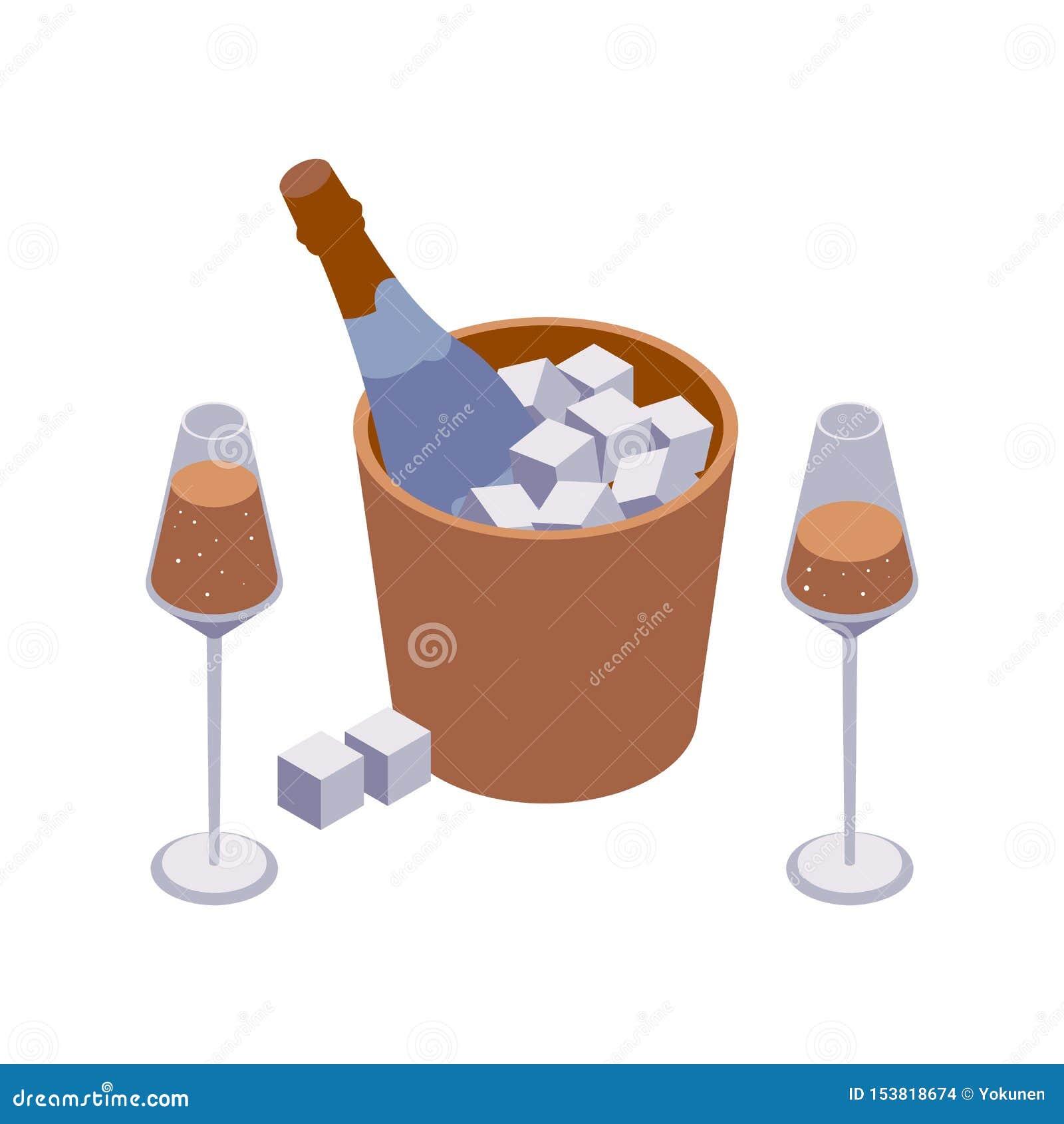 Isometrische close-upscène met twee wijnglazen en emmer van de fonkelingswijn met kubussen en bellen die op wit worden geïsoleerd
