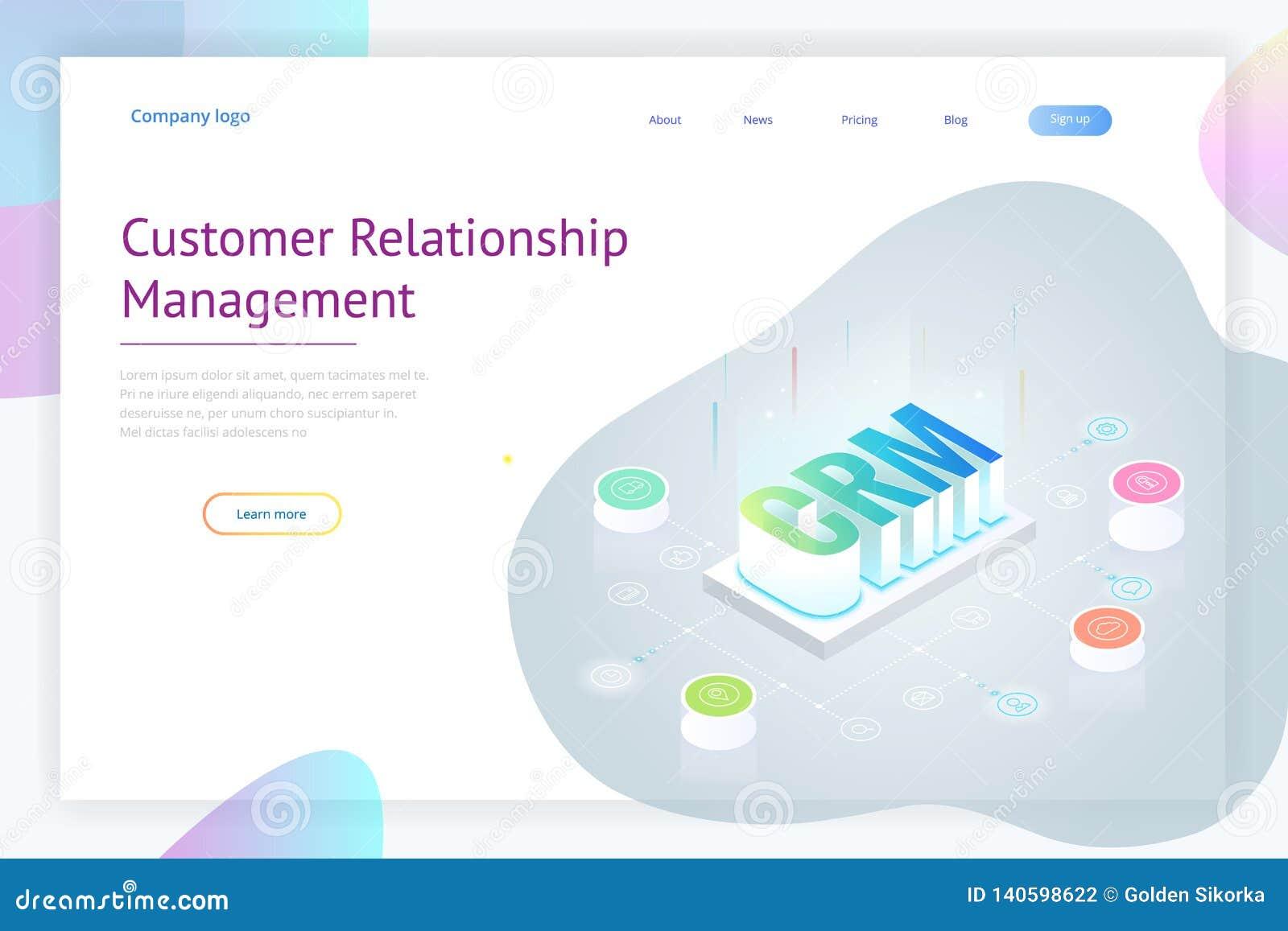 Isometrische CRM-Netzfahne Kunden-Verhältnis-Managementkonzept Geschäfts-Internet-Technologievektorillustration