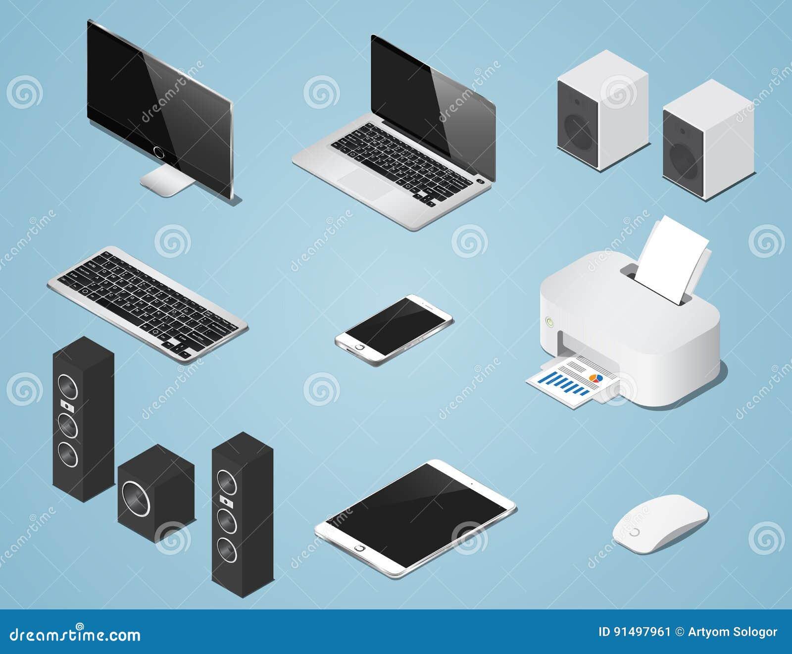 Isometrische digitale voorwerpen geplaatst illustratie Inzameling van computers en levering
