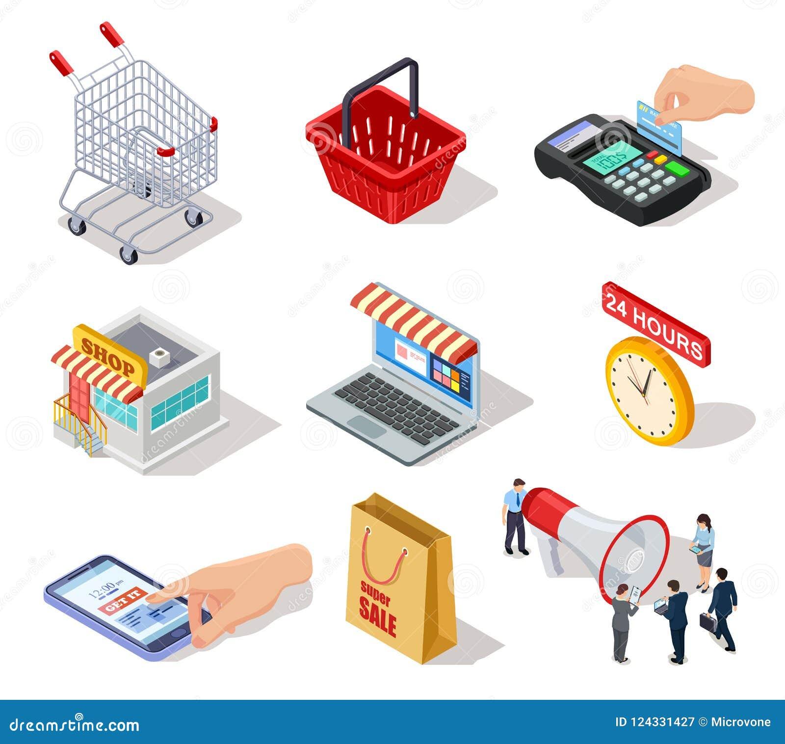 Isometrische Einkaufsikonen Der Speicher des elektronischen Geschäftsverkehrs, der on-line-Shop und das Internet, die 3d kauft, v