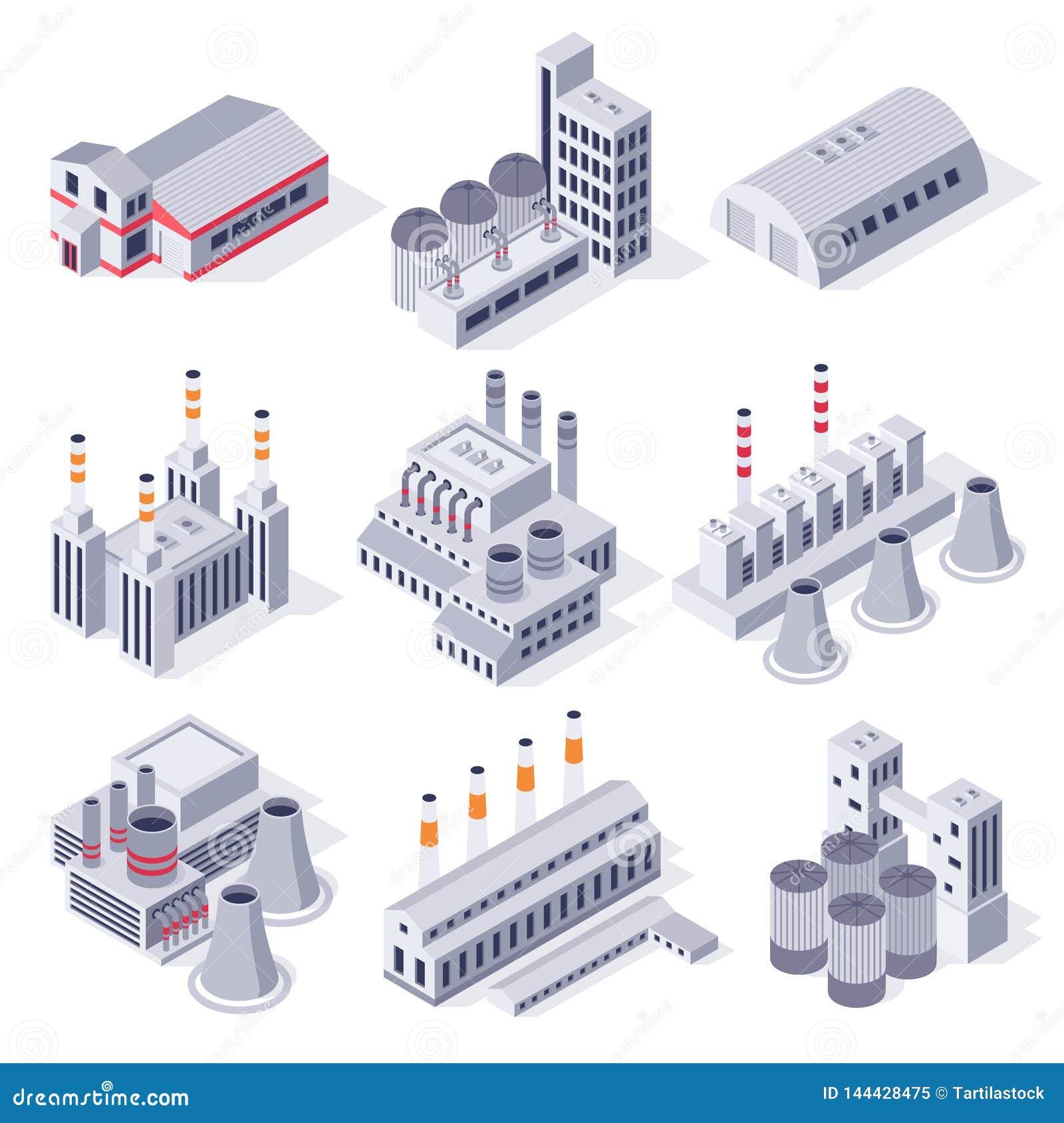 Isometrische fabrieksgebouwen De industriële elektrische centralebouw, de opslag van het fabriekenpakhuis en 3D vector van het de