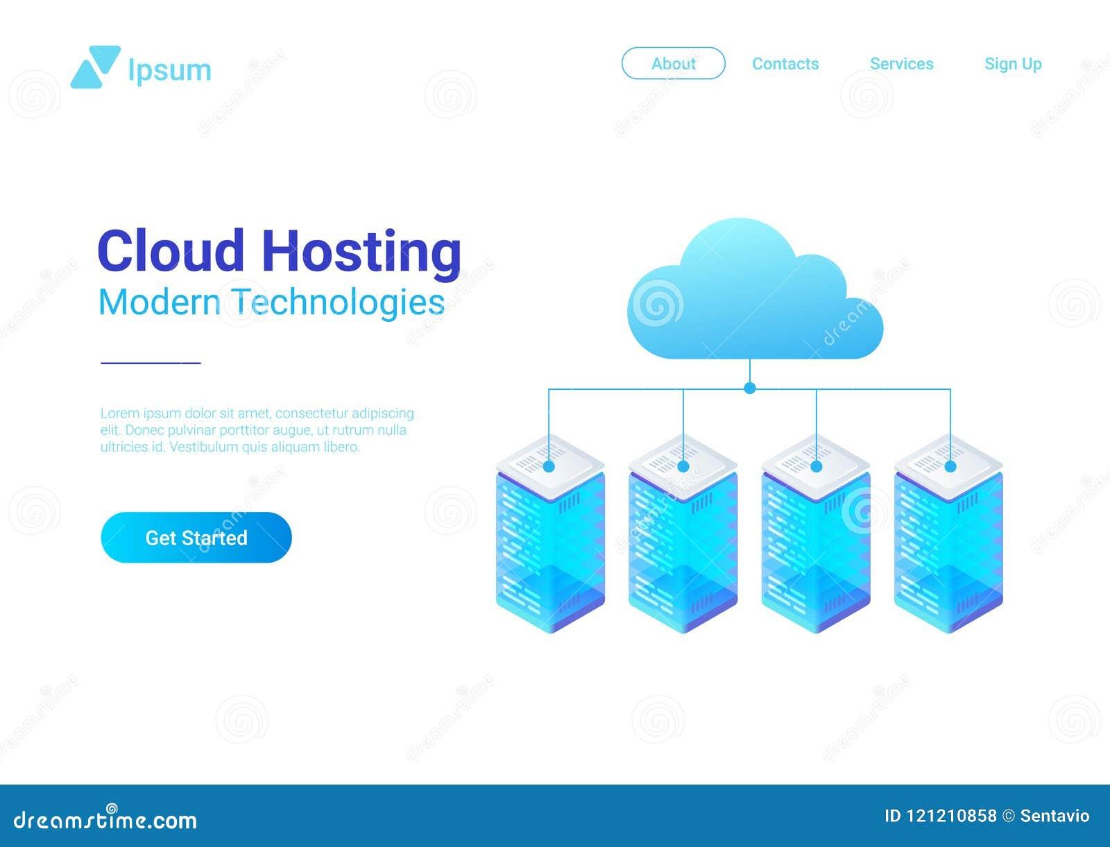 Isometrische flache Daten-Hosting-Server schlossen an C an