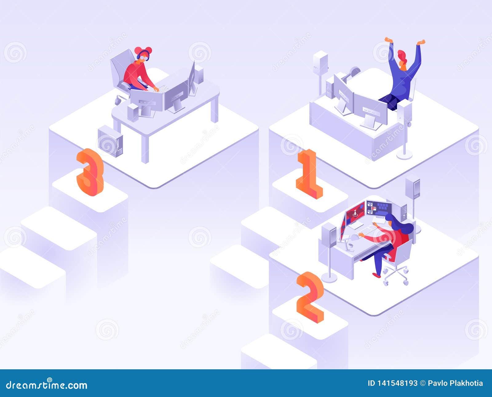 Isometrische flache Illustration des Spielturniers