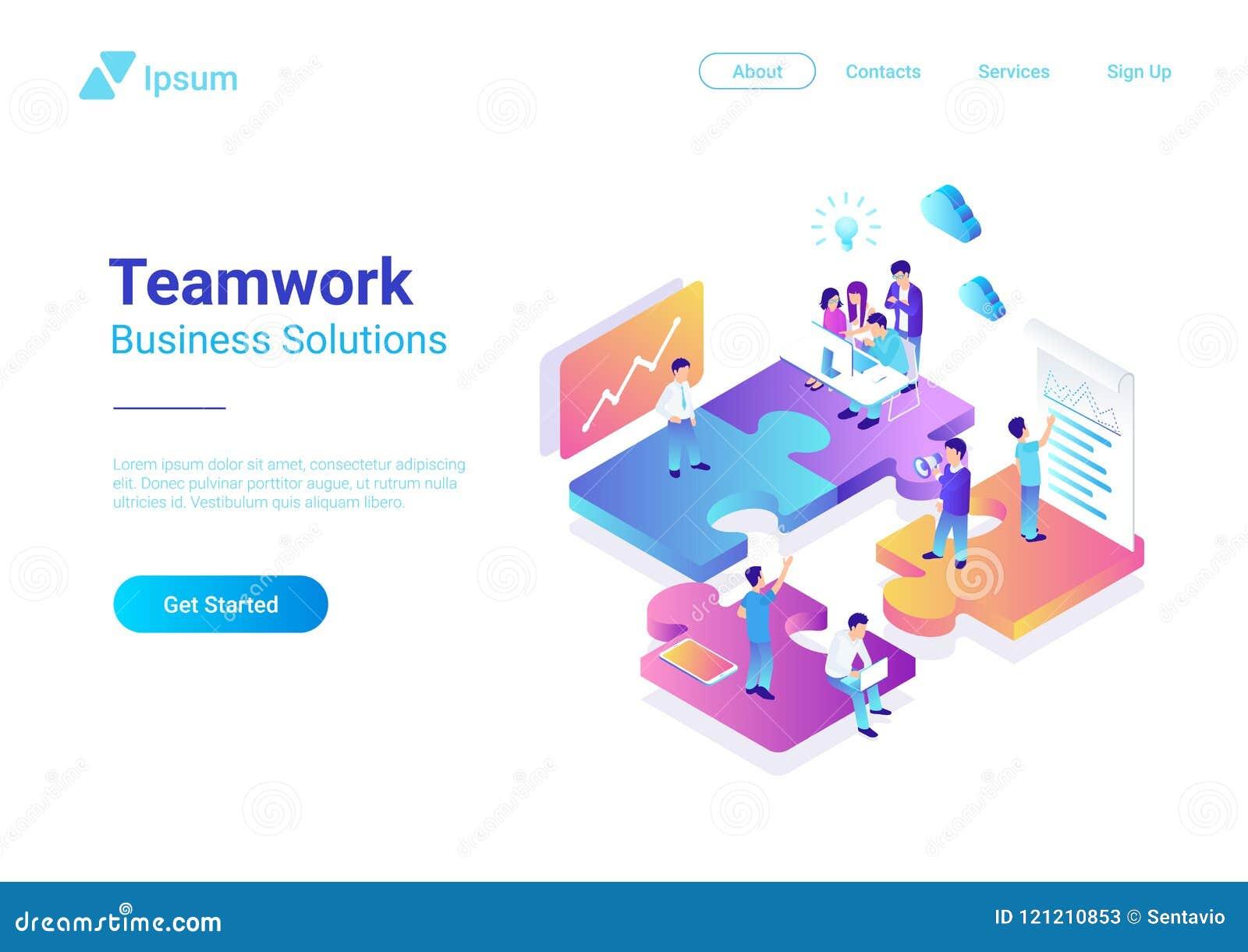 Isometrische flache Vektor Management-Teamwork-Leute P