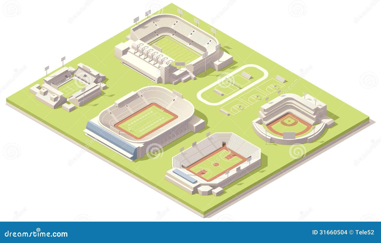 Isometrische geplaatste stadiongebouwen
