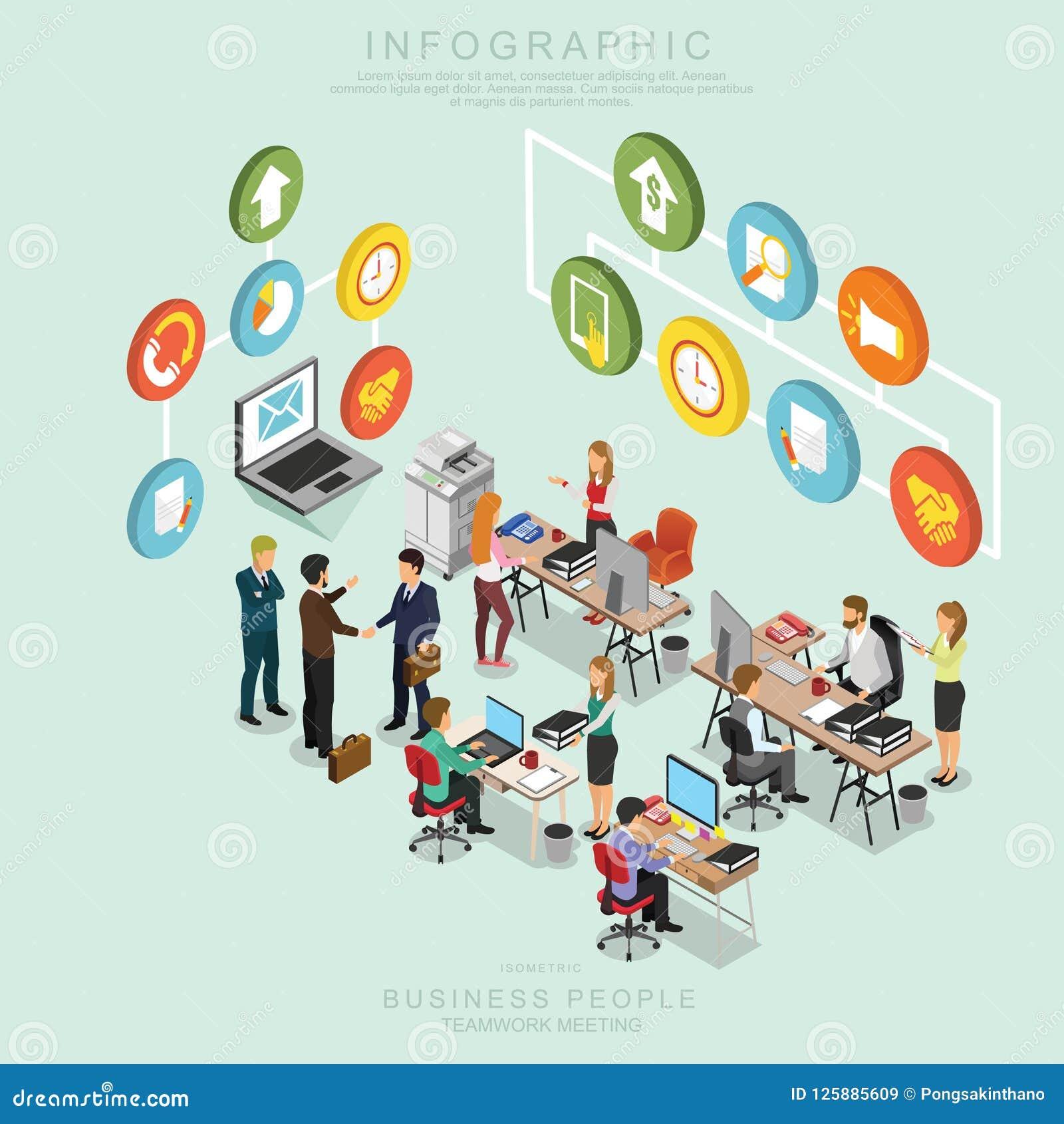 Isometrische Geschäftsleute Teamwork-Sitzungs-im Büro, teilen Idee, infographic Vektordesign gesetzte T