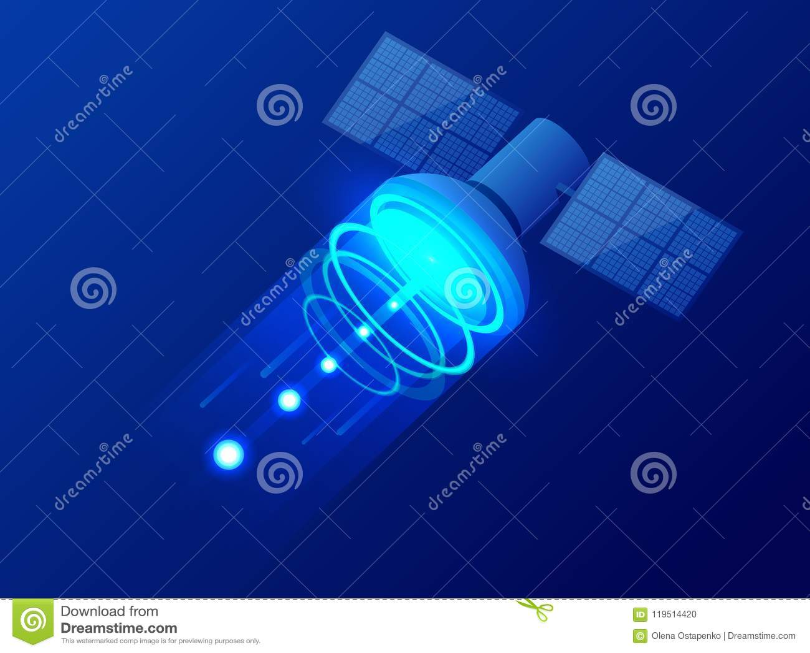Isometrische GPS-satelliet Draadloze satelliettechnologie Wereld globale netto Materiaal voor satelliettv en radio
