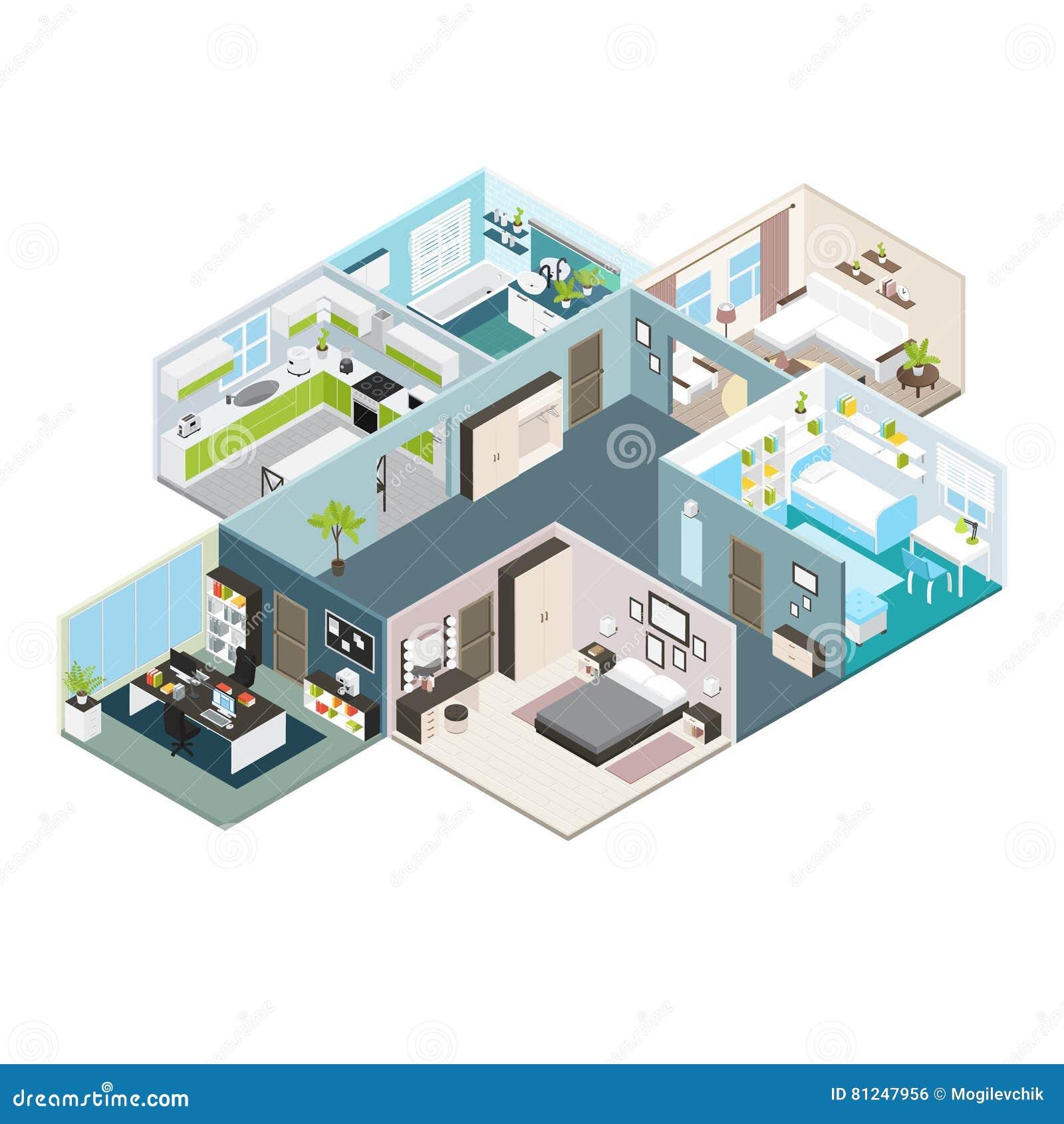 Isometrische Haus-Innenraum-Ansicht Vektor Abbildung - Illustration ...