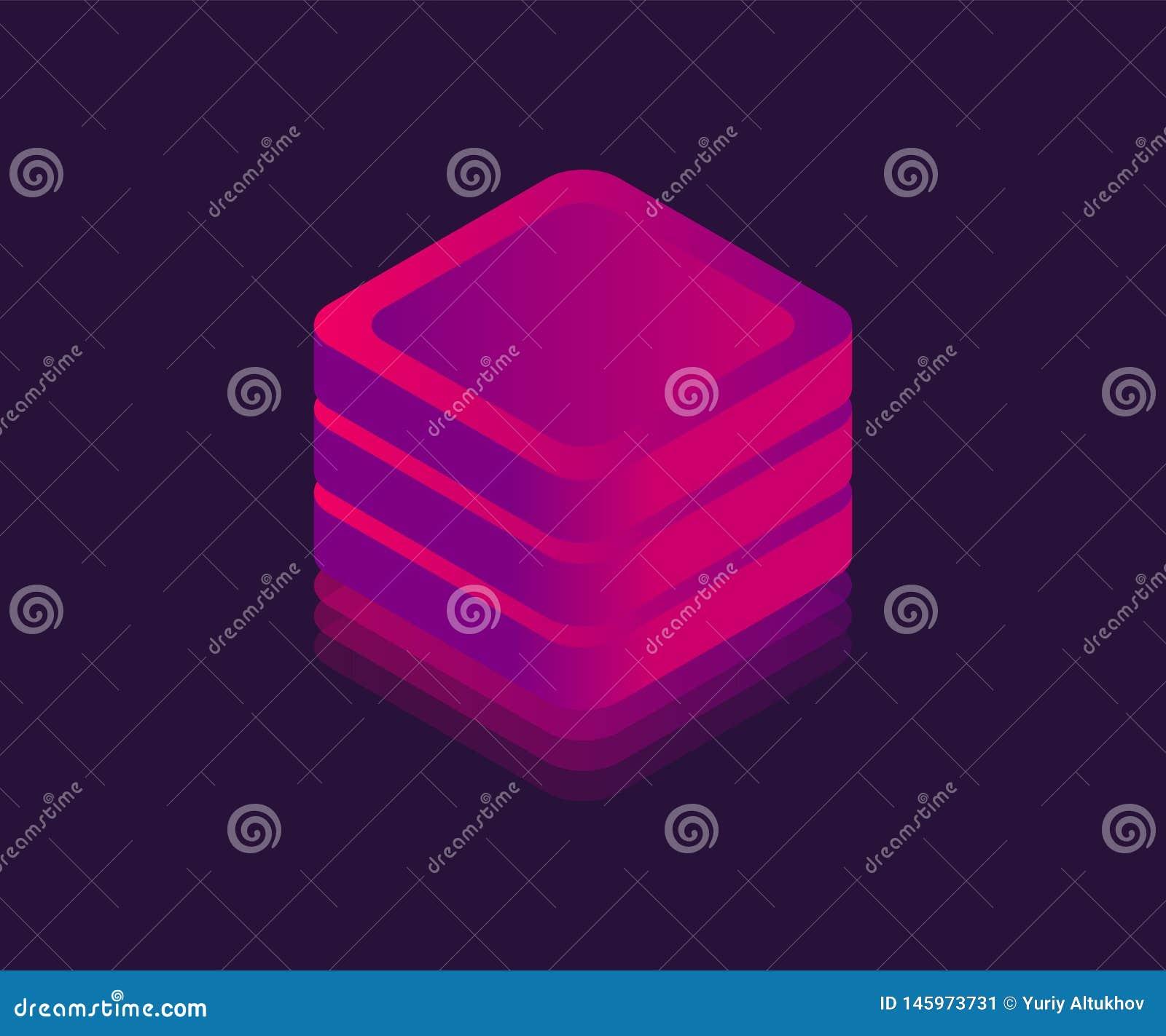 Isometrische Ikone der gro?en NeonDatenspeicherung Abstrakter W?rfel, Neonblock, Illustration des Vektors 3D