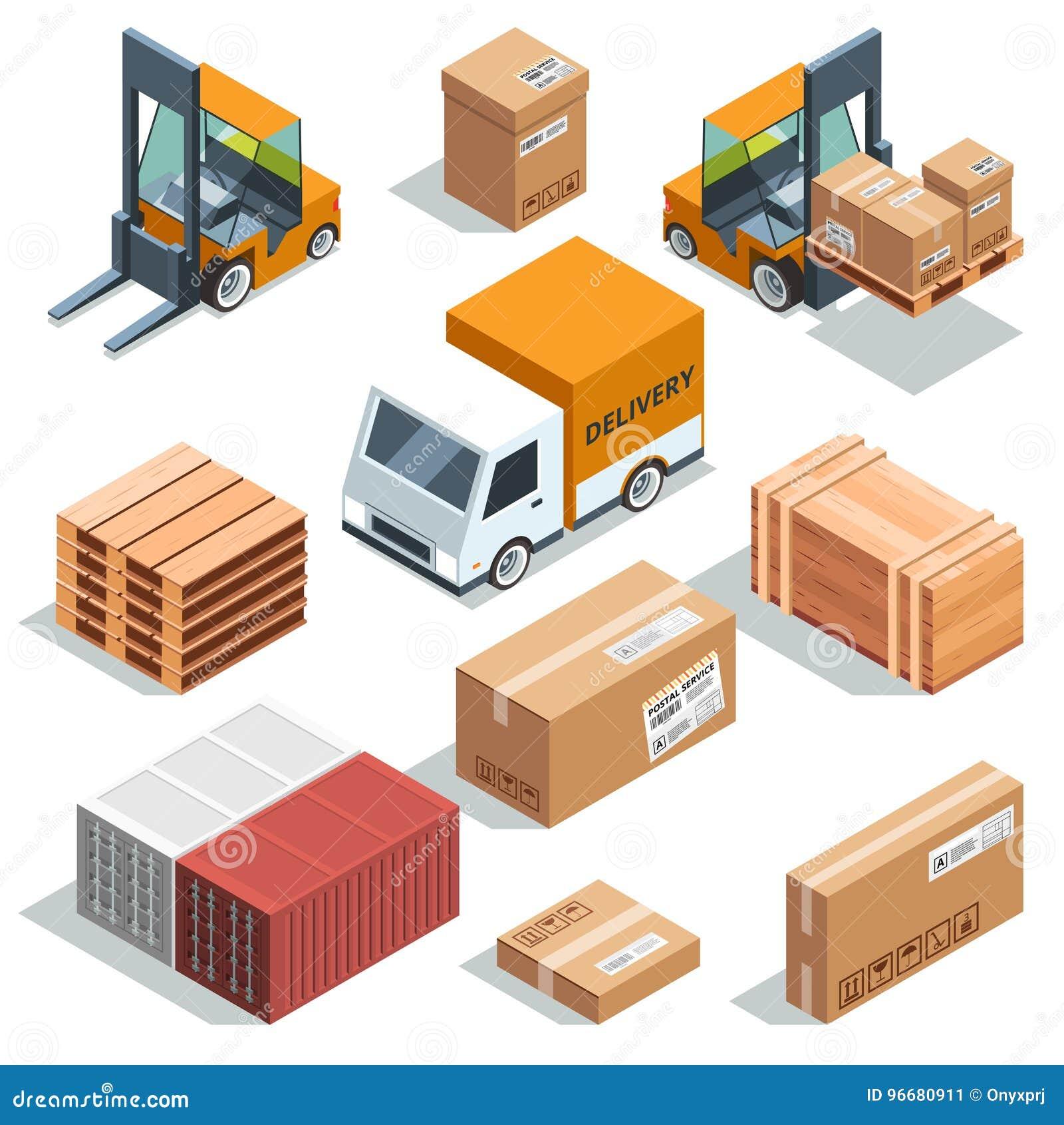 Isometrische Industriemaschine für das Beladen, Fracht und verschiedene Kästen und Paletten Logistische Illustrationen